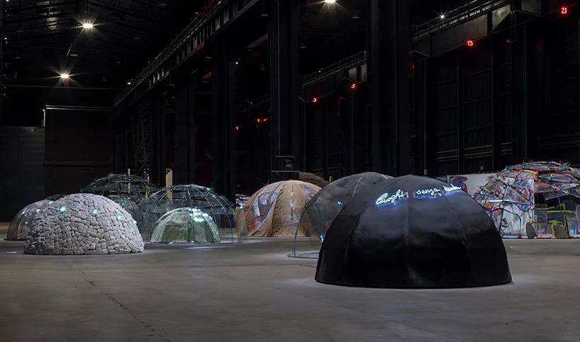 """mario merz, """"igloos"""", exhibition view at pirelli hangarbicocca, milan, 2018: courtesy pirelli; hangarbicocca, milano: photo: renato ghiazza © mario merz, by siae 2018"""