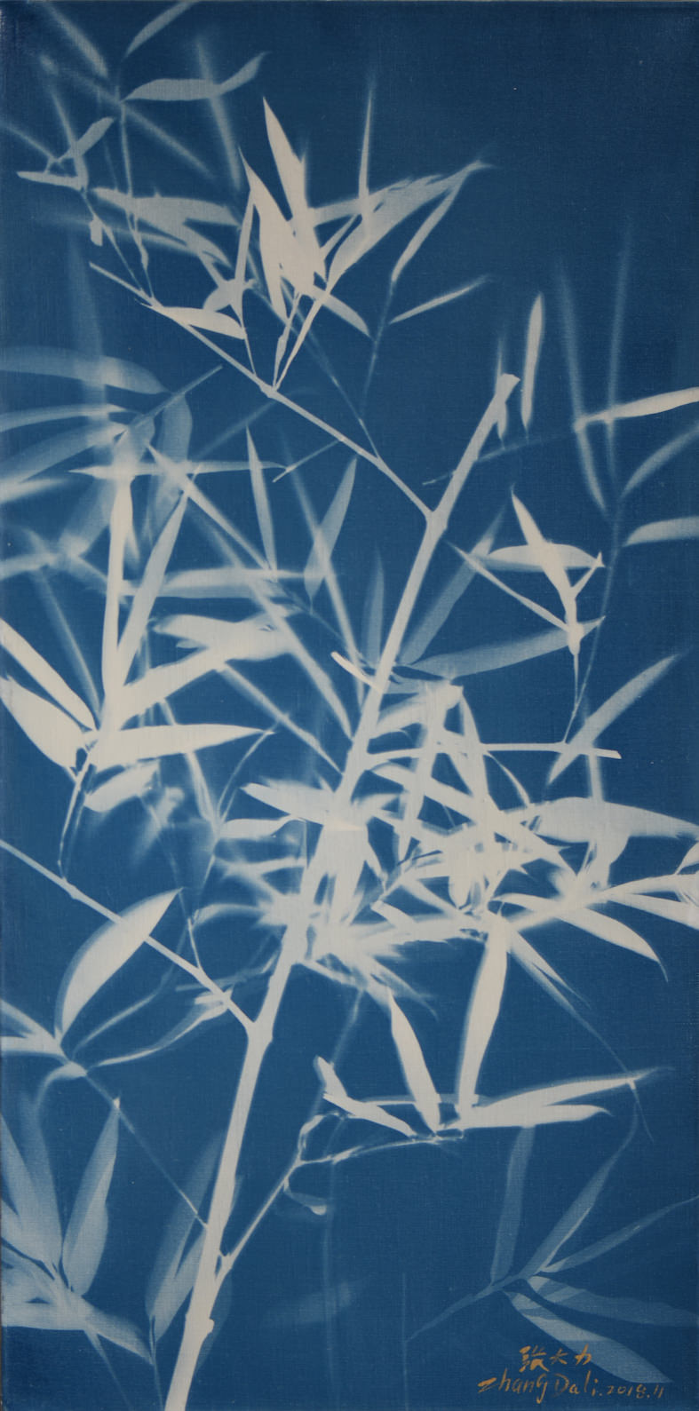 Zhang Dali, Bambù (80X40cm) Cyanotype on Canvas 2018