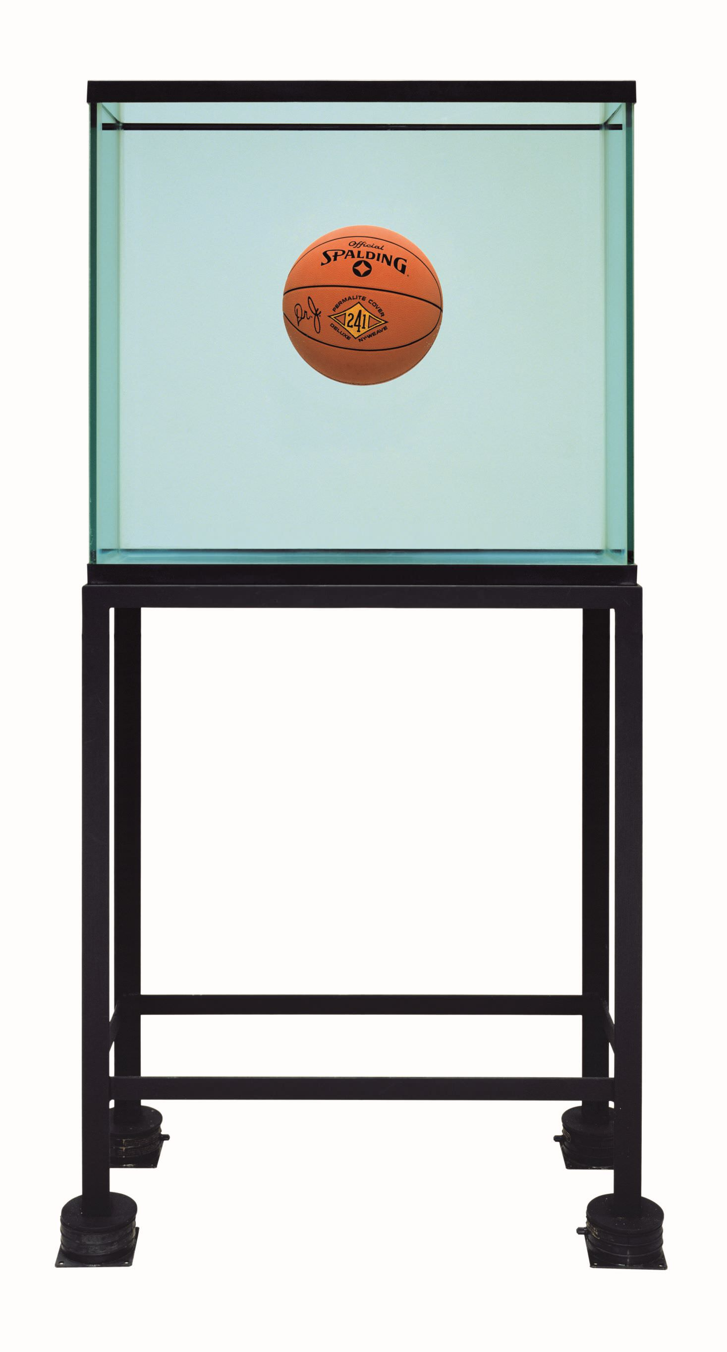 Jeff Koons (b. 1955); One Ball Total Equilibrium Tank (Spalding Dr. J 241 Series); 1985; Glass, steel, sodium chloride reagent, distilled water, one basketball; 164.5 x 78.1 x 33.7 cm; Edition 2 of an edition of 2; Collection of BZ + Michael Schwartz, New York © Jeff Koons