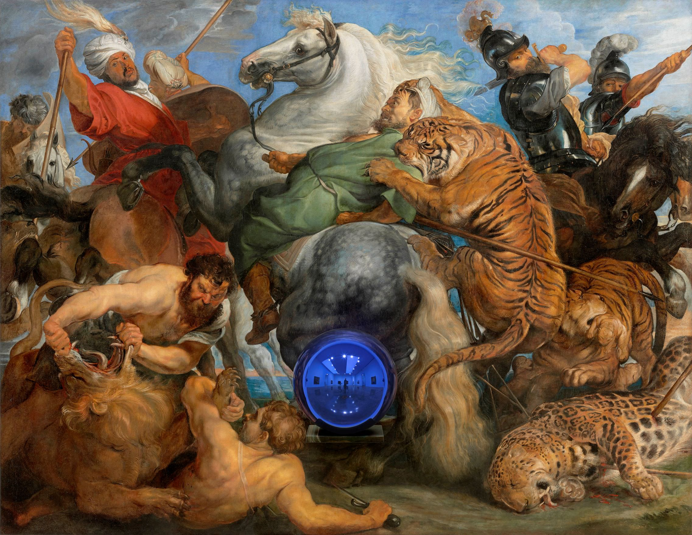 Jeff Koons (b. 1955); Gazing Ball (Rubens Tiger Hunt); 2015; Oil on canvas, glass, and aluminium; 163.8 x 211.1 x 37.5 cm; Collection of the artist © Jeff Koons. Photo: Tom Powel Imaging. Courtesy Gagosian