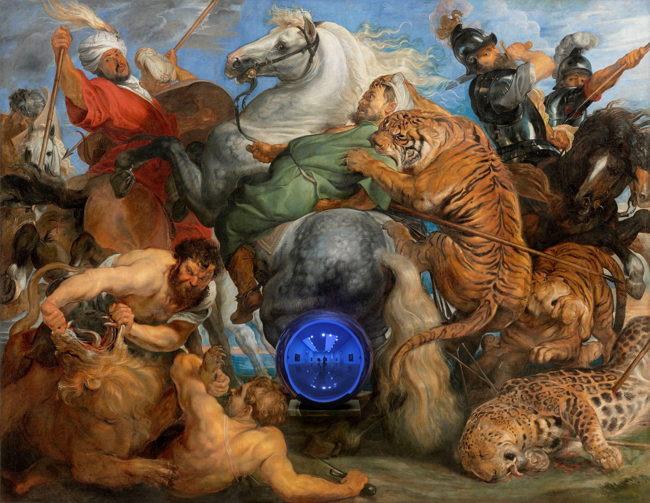 Jeff Koons (b. 1955); Gazing Ball (Rubens Tiger Hunt); 2015; Oil on canvas, glass, and aluminium; 163.8 x 211.1 x 37.5 cm; Collection of the artist © Jeff Koons. Photo: Tom Powel Imaging. Courtesy Gagosian
