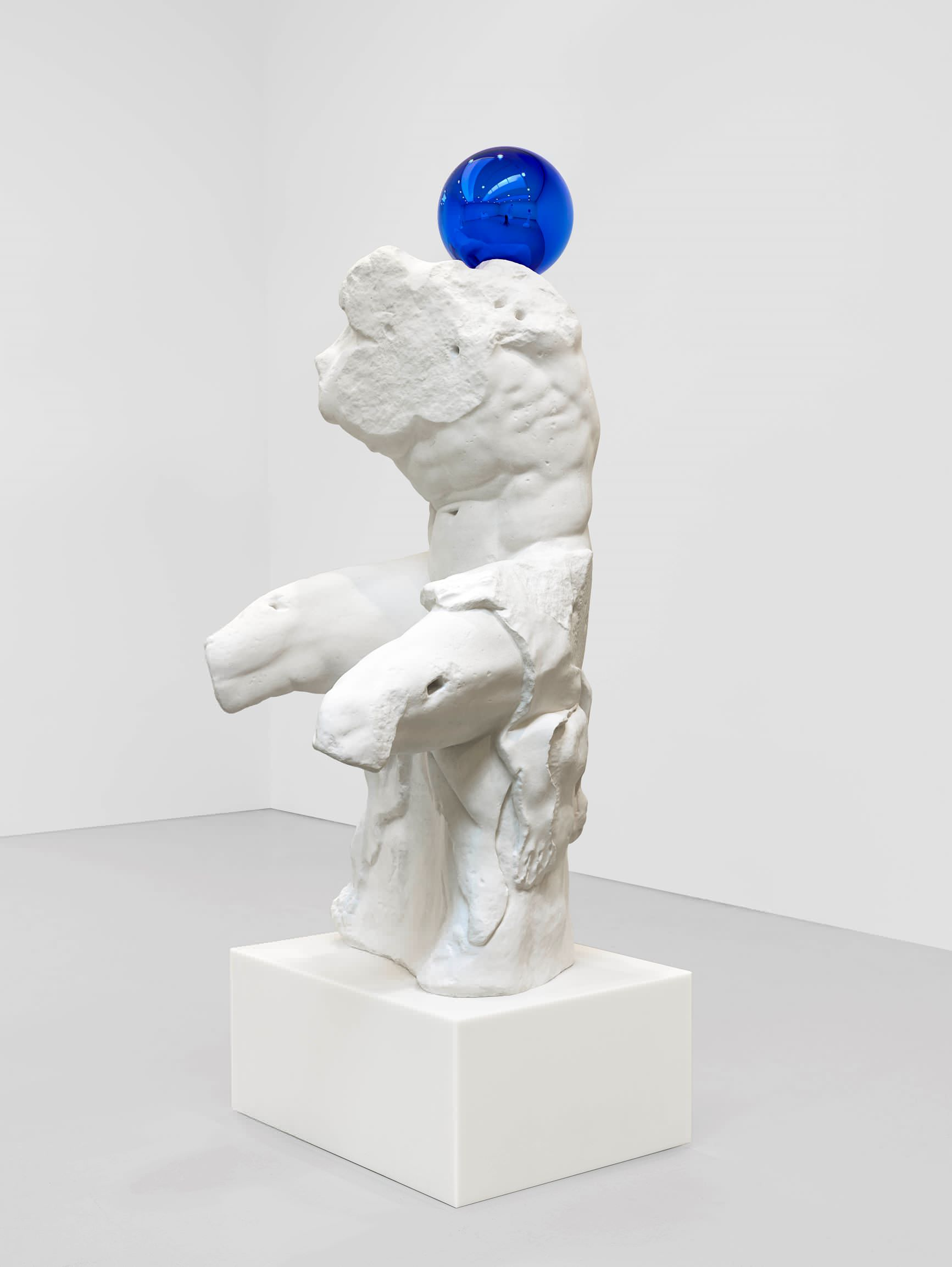 Jeff Koons (b. 1955); Gazing Ball (Belvedere Torso); 2013; Plaster and glass; 181.6 x 75.9 x 89.2 cm; Artist's proof of an edition of 3 plus AP; Collection of the artist © Jeff Koons. Photo: Tom Powel Imaging. Courtesy Gagosian