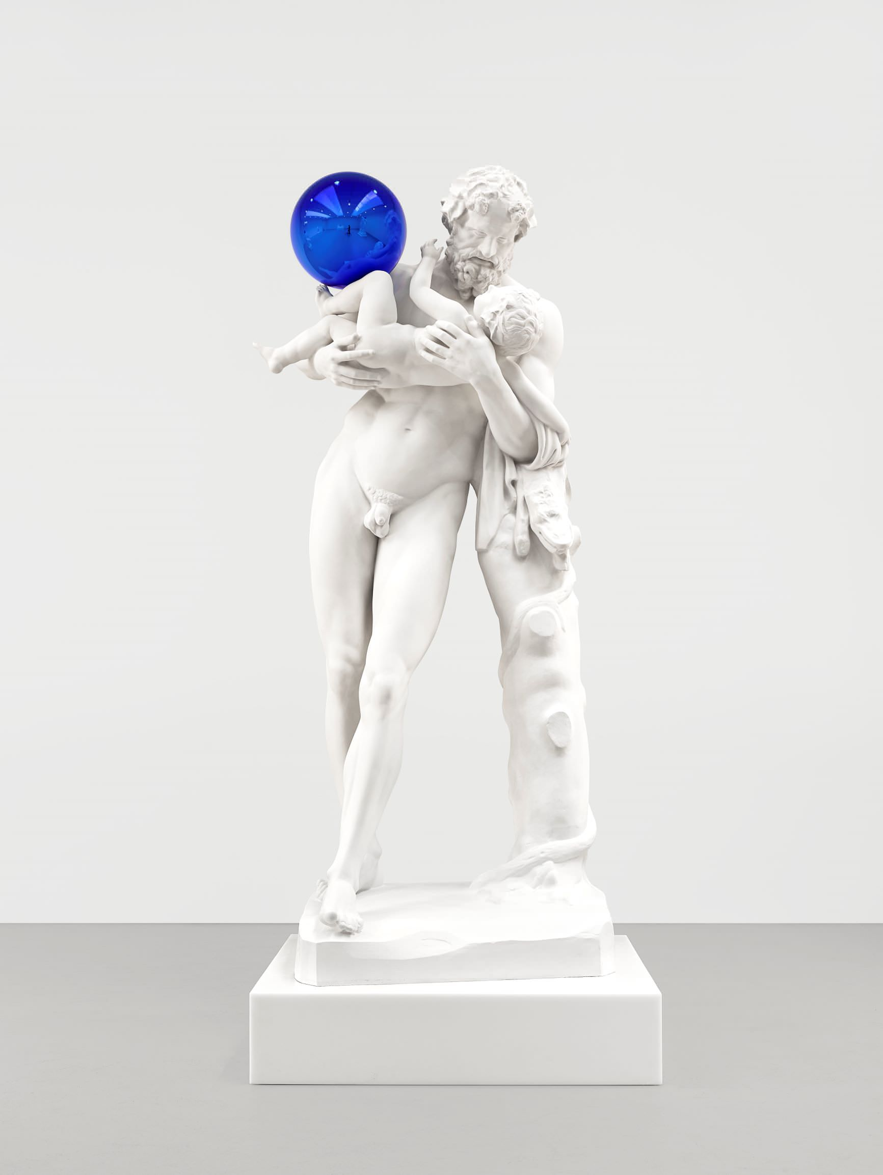 Jeff Koons (b. 1955); Gazing Ball (Silenus with Baby Dionysus); 2013; Plaster and glass; 202.2 x 86.4 x 85.4 cm; Artist's proof of an edition of 3 plus AP; Collection of the artist © Jeff Koons. Photo: Tom Powel Imaging. Courtesy Gagosian