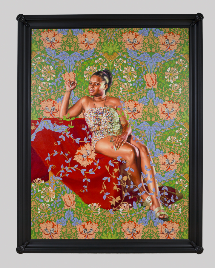 "Kehinde Wiley, ""Saint Jerome Hearing the Trumpet of the Last Judgment"" (2018), oil on linen, image: 96 × 72 inches, framed: 107 × 83 × 6 inches, Saint Louis Art Museum"