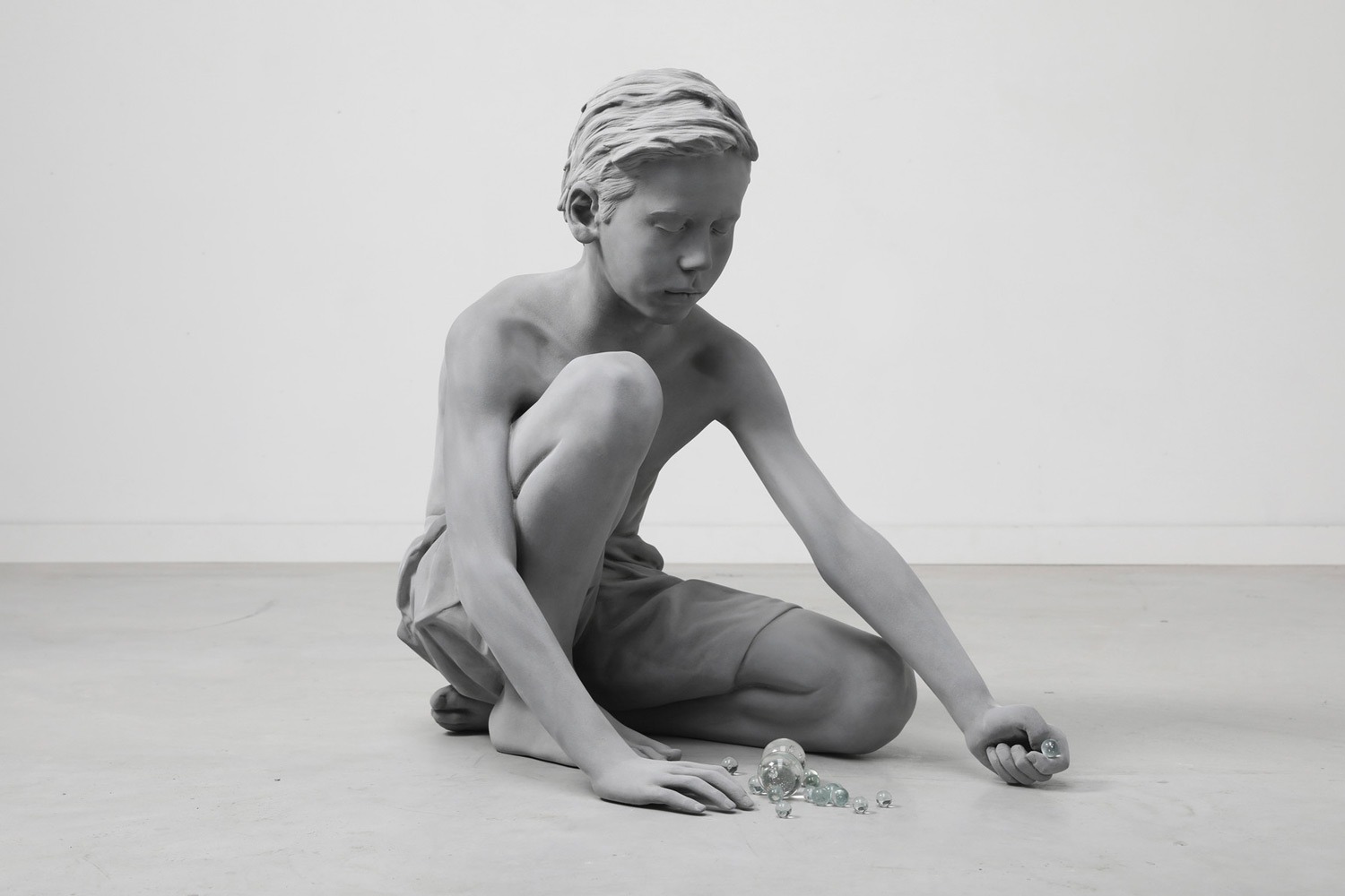 "Hans Op de Beeck, ""Timo (Marbles)"" (2018), Polyester, Glass, Coating"