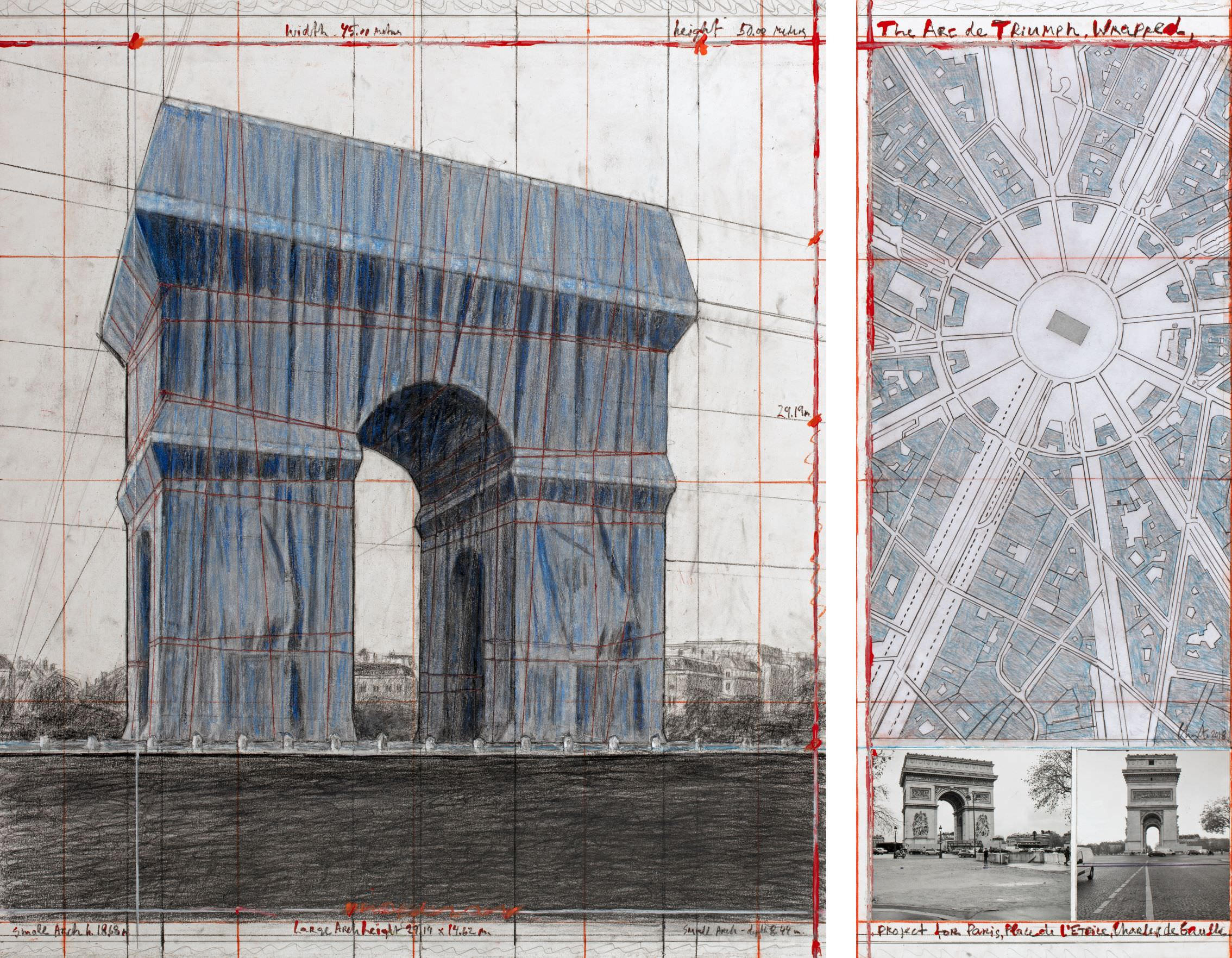 "Christo, The Arc de Triumph, Wrapped, Project for Paris, Place de l'Etoile, Charles de Gaulle, Collage 2018 in two parts 30 1/2 x 26 1/4"" and 30 1/2 x 12"" (77.5 x 66.7 cm and 77.5 x 30.5 cm) Pencil, charcoal, wax crayon, fabric, twine, enamel paint, photograph by Wolfgang Volz, hand-drawn map and tape Photo: André Grossmann © 2018 Christo"