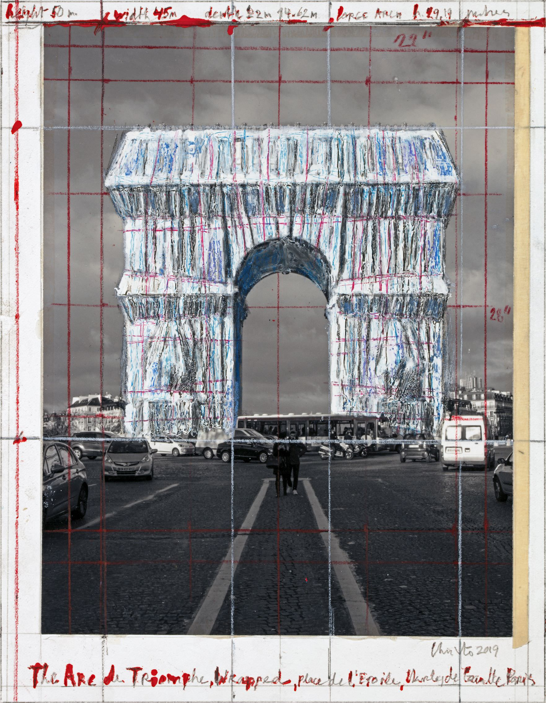 "Christo, The Arc de Triomphe, Wrapped, Place de l'Etoile, Charles de Gaulle, Paris, Collage 2019, 11 x 8 1/2"" (28 x 21.5 cm), Pencil, wax crayon, enamel paint, photograph by Wolfgang Volz and tape, Photo: André Grossmann © 2019 Christo"