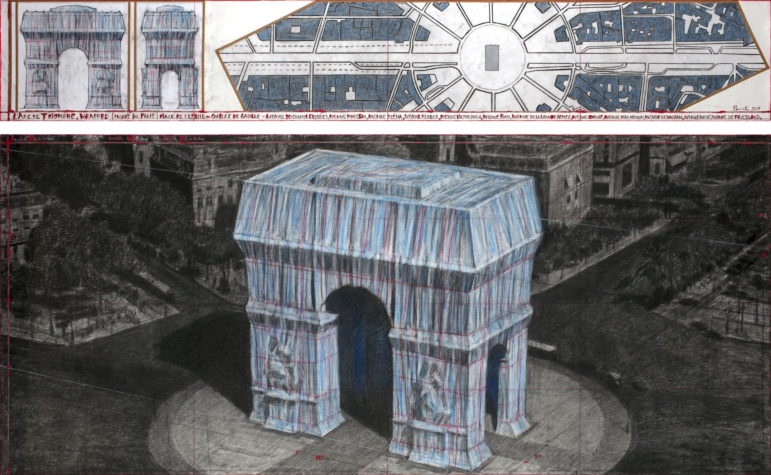 "Christo, L'Arc de Triomphe, Wrapped (Project for Paris) Place de l'Etoile – Charles de Gaulle, Drawing 2019 in two parts, 15 x 96"" and 42 x 96"" (38 x 244 cm and 106.6 x 244 cm), Pencil, charcoal, pastel, wax crayon, enamel paint, architectural and topographic survey, hand-drawn map on vellum and tape. Photo: André Grossmann © 2019 Christo"