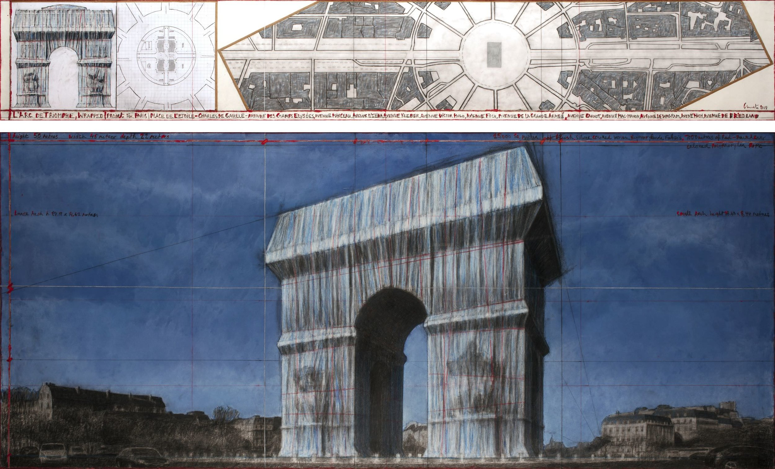 "Christo, L'Arc de Triomphe, Wrapped (Project for Paris) Place de l'Etoile – Charles de Gaulle. Drawing 2019 in two parts, 15 x 96"" and 42 x 96"" (38 x 244 cm and 106.6 x 244 cm). Pencil, charcoal, pastel, wax crayon, enamel paint, architectural and topographic survey, hand-drawn map on vellum and tape. Photo: André Grossmann © 2019 Christo"