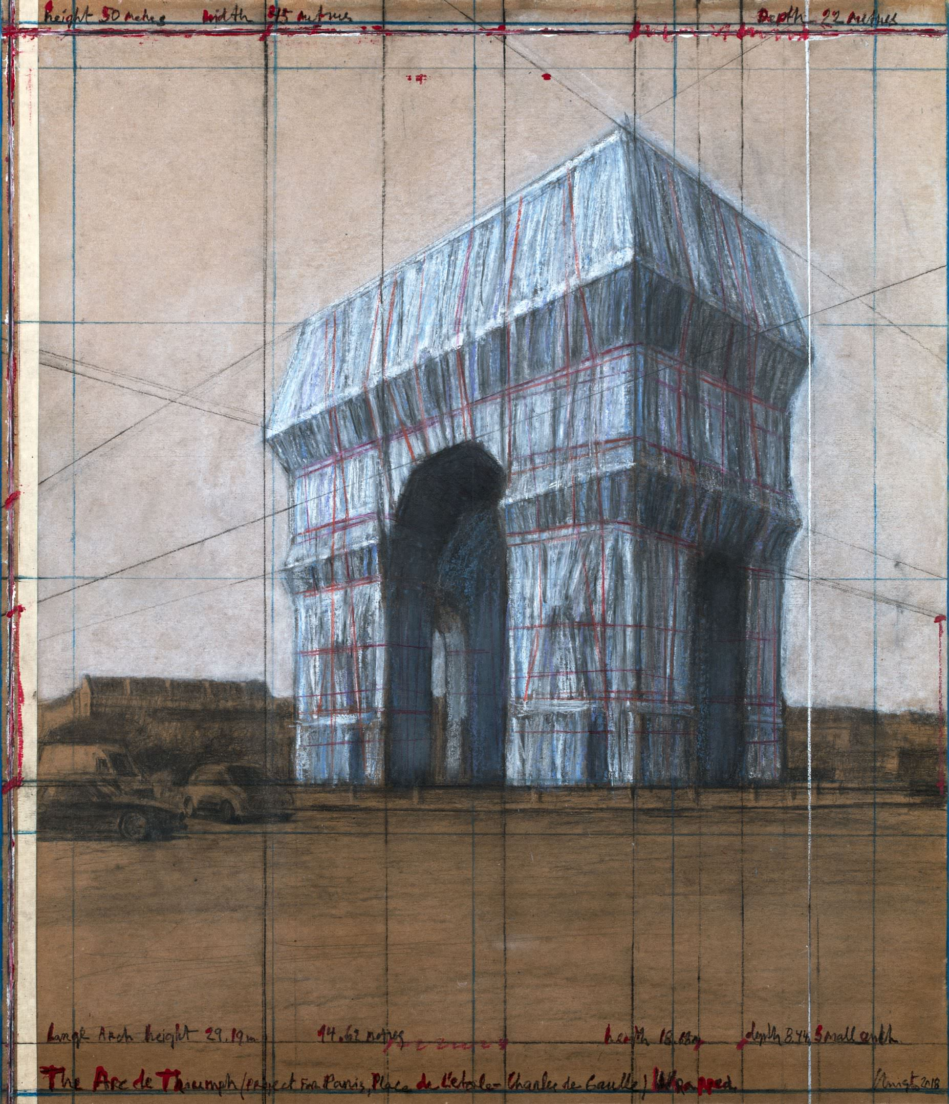 "Christo, The Arc de Triumph (Project for Paris, Place de l'Etoile – Charles de Gaulle) Wrapped. Drawing 2018, 30 1/2 x 26 1/4"" (77.5 x 66.7 cm). Pencil, charcoal, pastel, wax crayon, enamel paint and tape on brown board. Photo: André Grossmann © 2018 Christo"