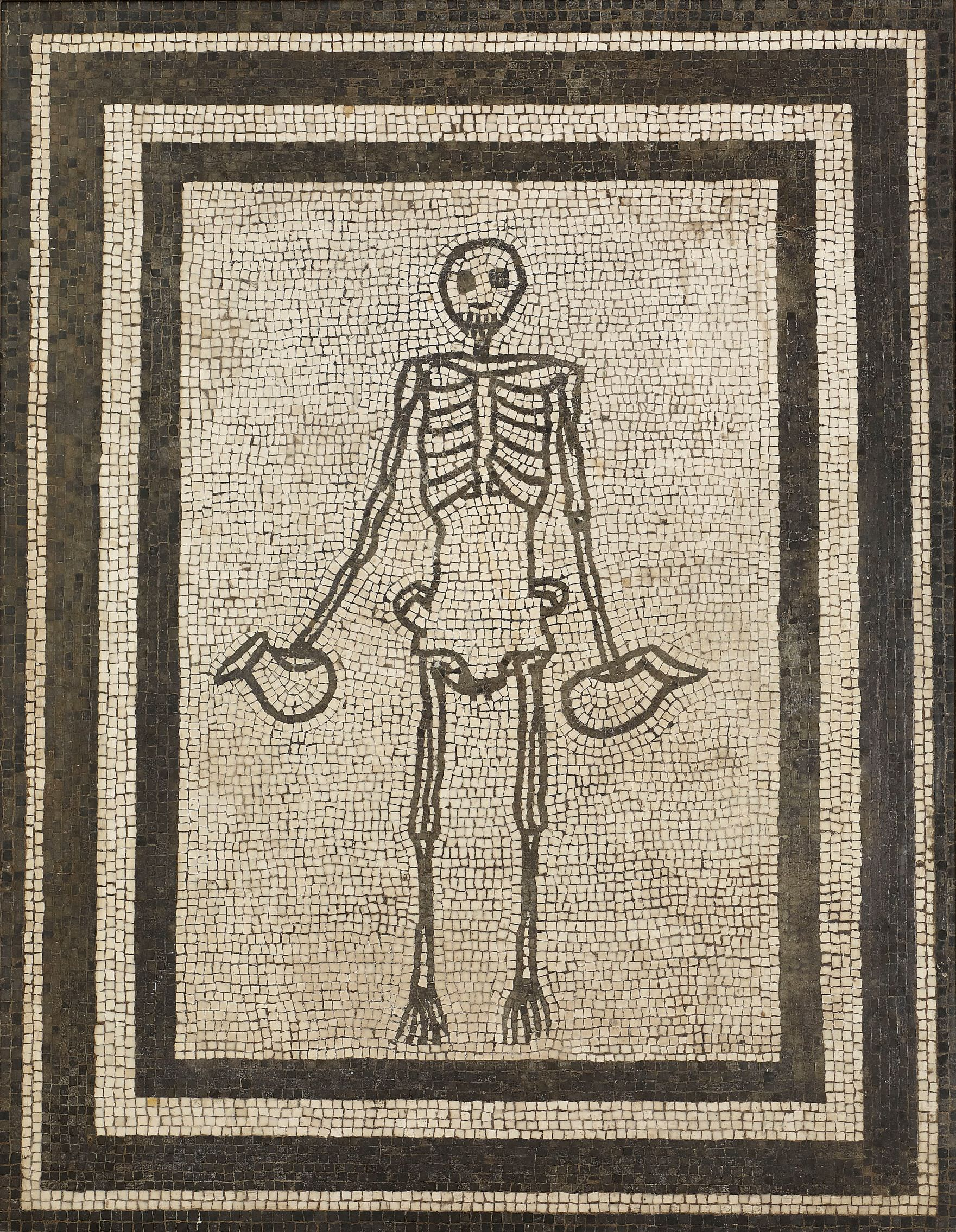 Monochrome mosaic panel of a skeleton holding two wine jugs, AD 1–50. Pompeii, House of the Vestals (91 x 70 cm). Museo Archeologico Nazionale di Napoli