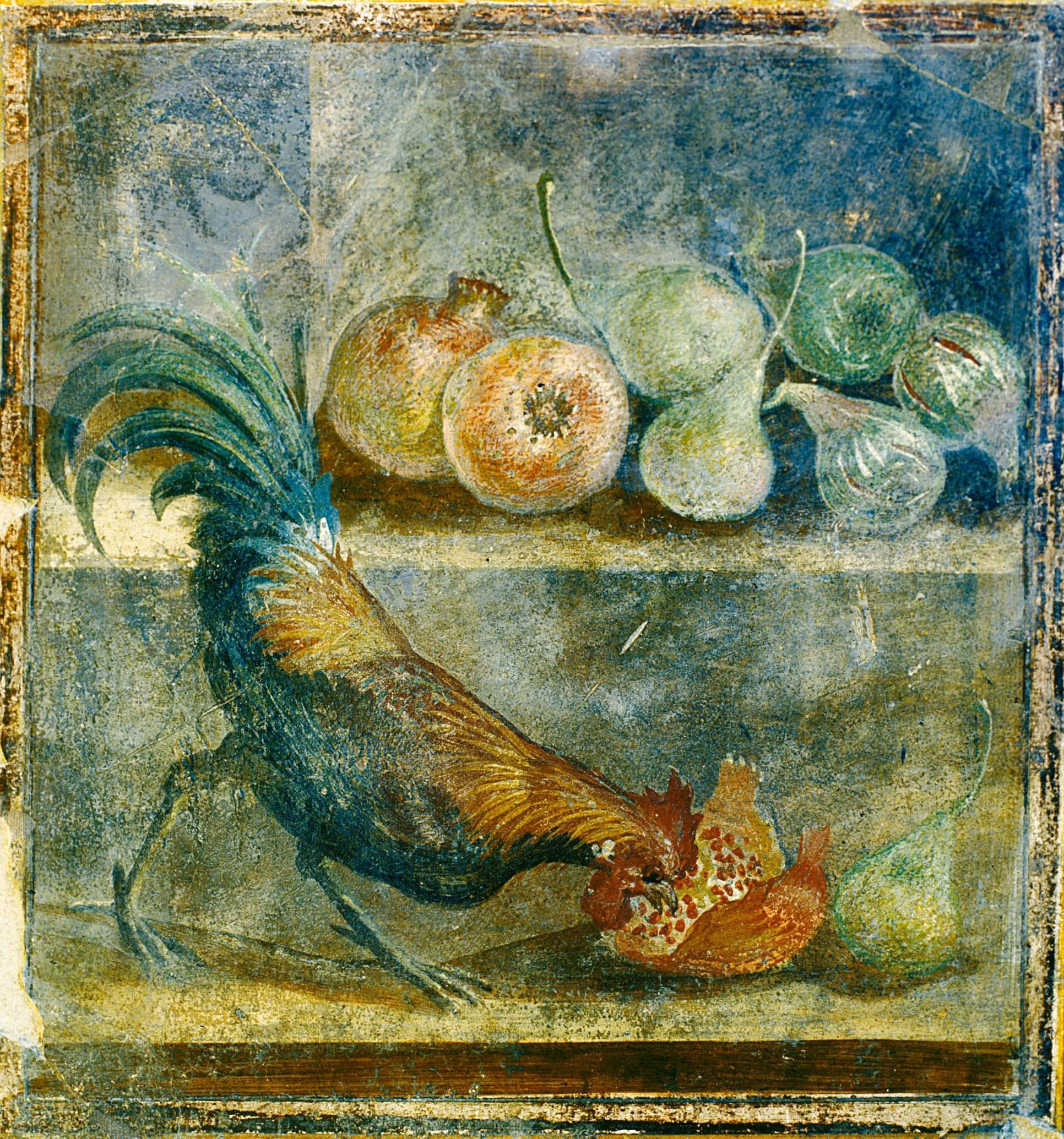 Still life wall panel fresco showing a cockerel pecking at figs, pears and pomegranates, AD 45–79. Pompeii, House of the Chaste Lovers (55 x 52 cm). Parco Archeologico di Pompeii