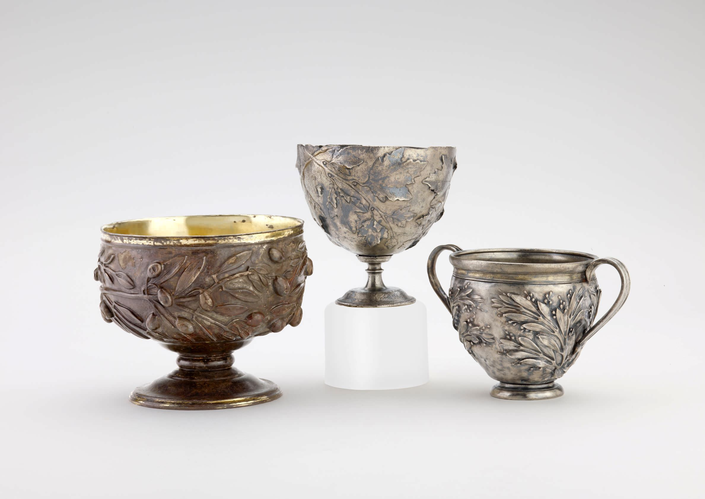 Gilded silver cups decorated with repoussé olive, vine and myrtle sprays (left to right), 50 BC–AD 150. Ashmolean Museum, University of Oxford
