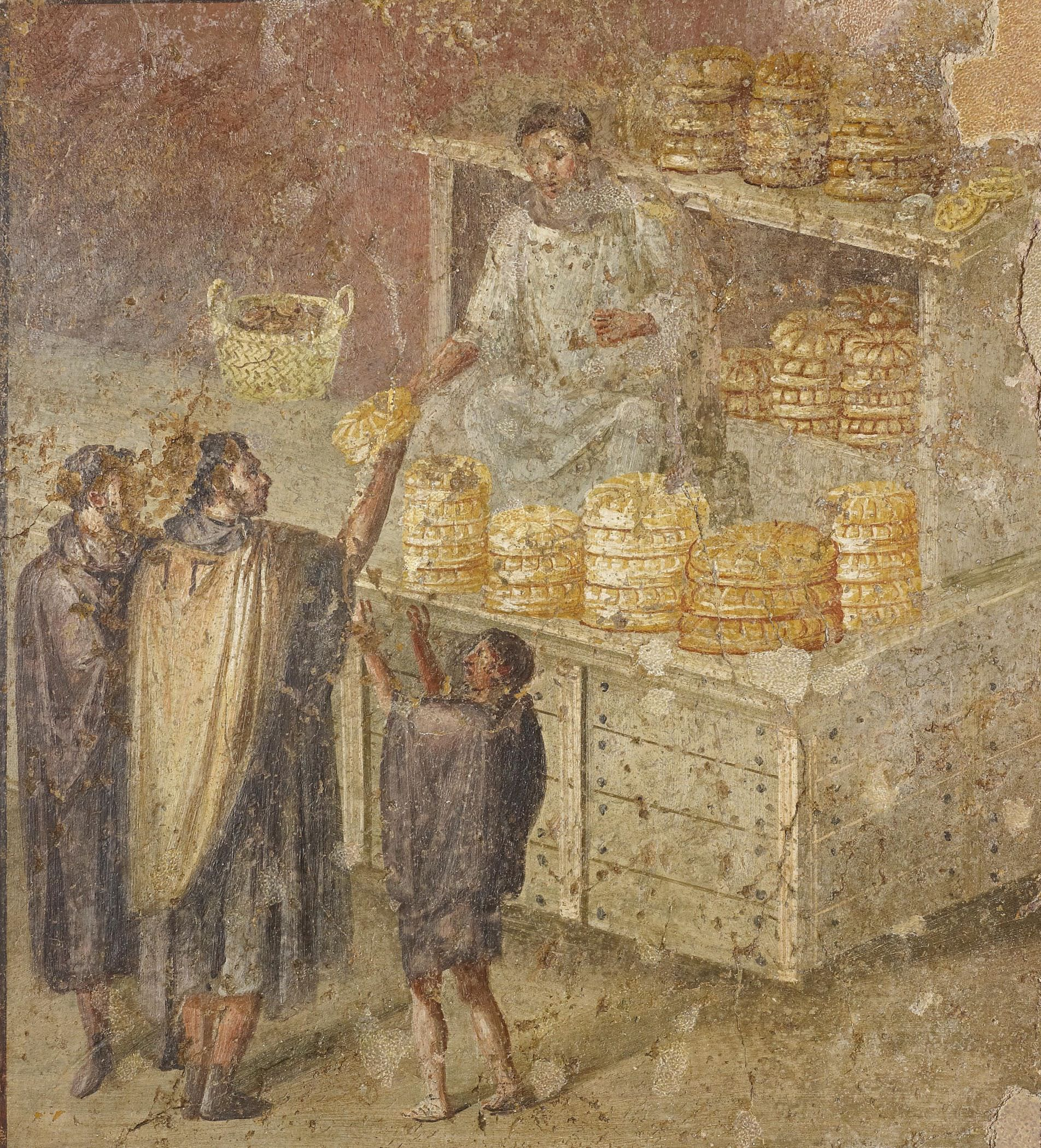 Fresco wall panel showing the distribution of bread, AD 40–79. Pompeii, House of the Baker (69 x 60 cm). Museo Archeologico Nazionale di Napoli