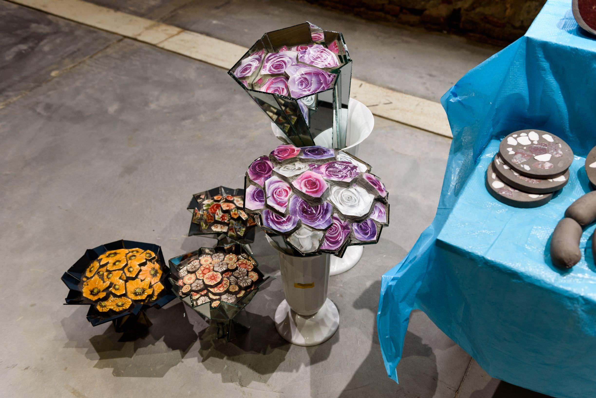 Zhanna Kadyrova , Market, 2017-2019. Ceramic tiles, cement, mirror and natural stone. Photo by: Andrea Avezzù. Courtesy: La Biennale di Venezia