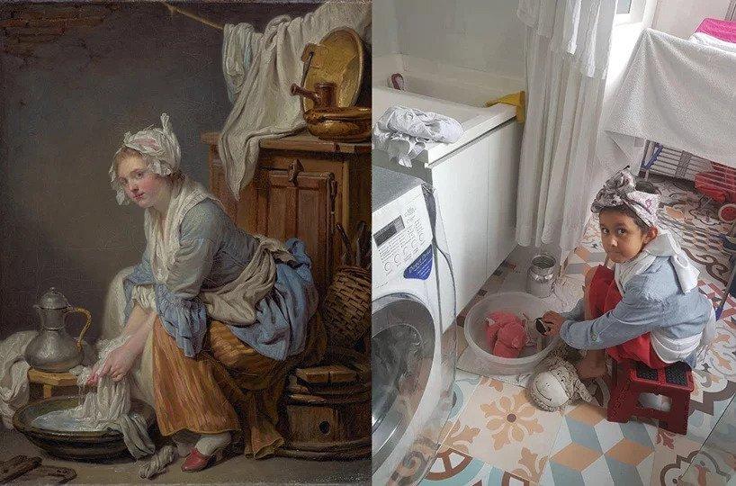 In migliaia accettano la sfida del museo Getty e ricreano capolavori del passato con ciò che hanno in casa