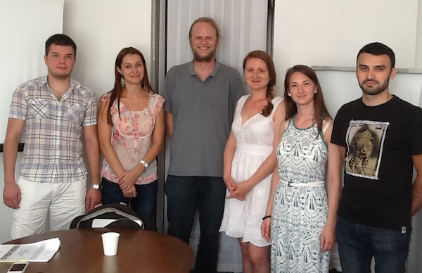 DJ Healy, Centro's Entrepreneurship Program Manager with aspiring small business entrepreneurs in Moldova.