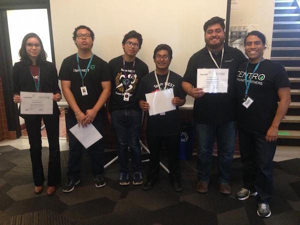 Arturo Noriega, Centro's Founder and Executive Director (far right) with Digital Nest's first group of Centro's Basic Entrepreneurship Program graduates.