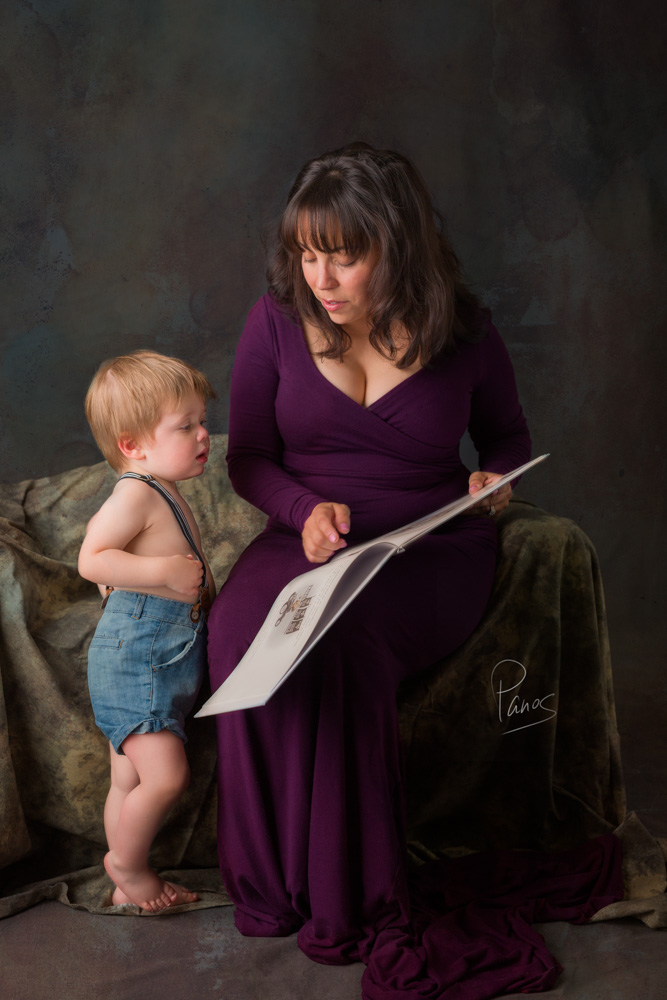 Mother with toddler son portrait.