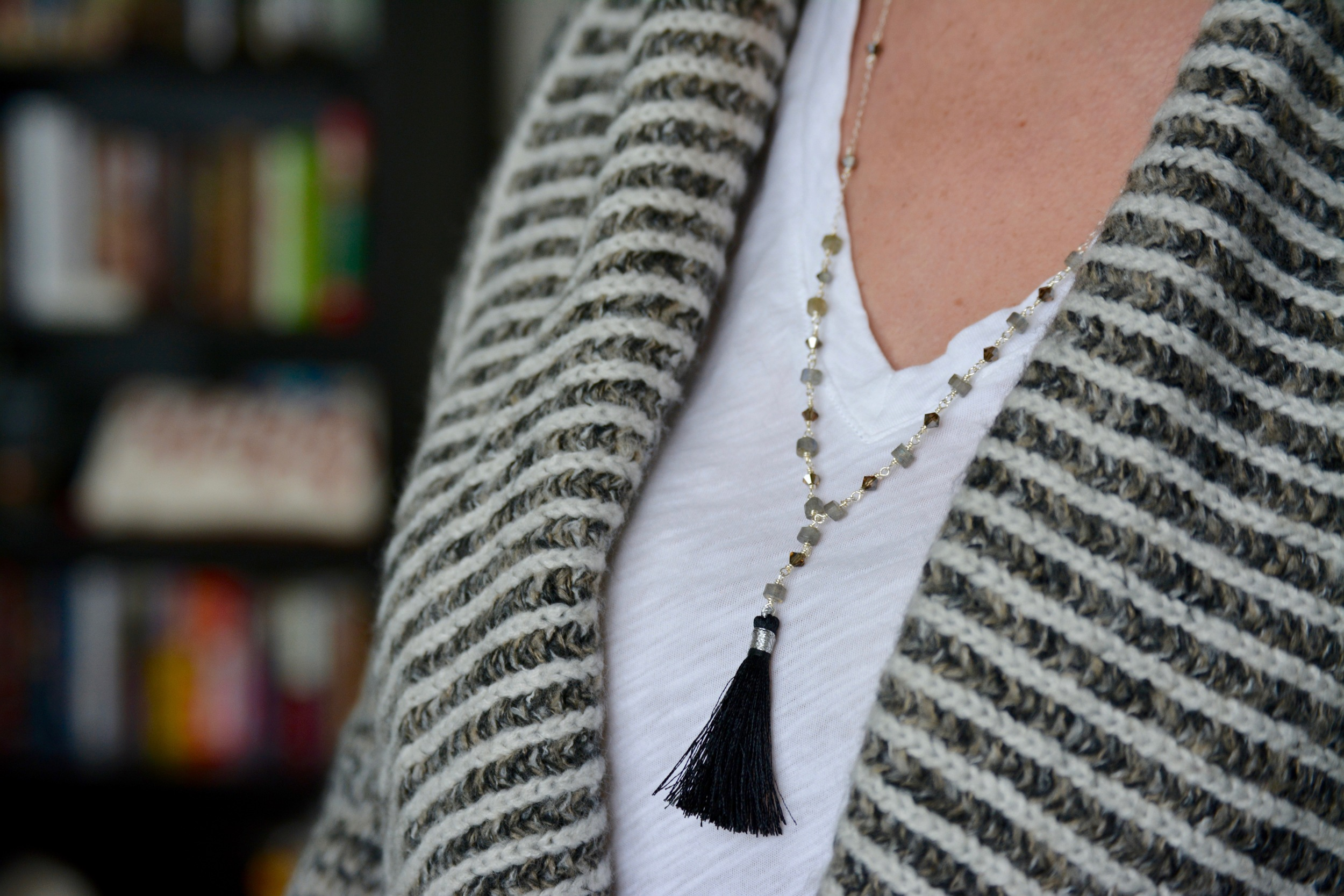 Grey & Silver Tassel Necklace   here