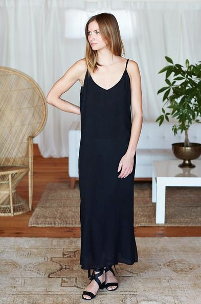 Emerson Fry Maxi Slip Dress - I would wear this over a long sleeve turtleneck with black opaque tights, white sneakers and an oversized duster coat in the winter then sandals and a beach bag in the summer!