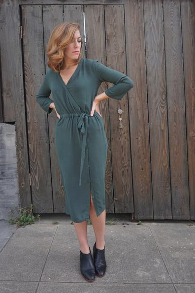 First Rite Crossover Dress - I can just picture this dress with opaque tights, ankle boots and these statement earrings for a holiday party!
