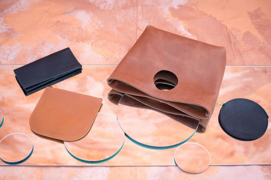 From left to right //  The Ida Wallet ,  The Helen Zip Pouch ,  The Lee Clutch ,  The Audrey Circle Pouch