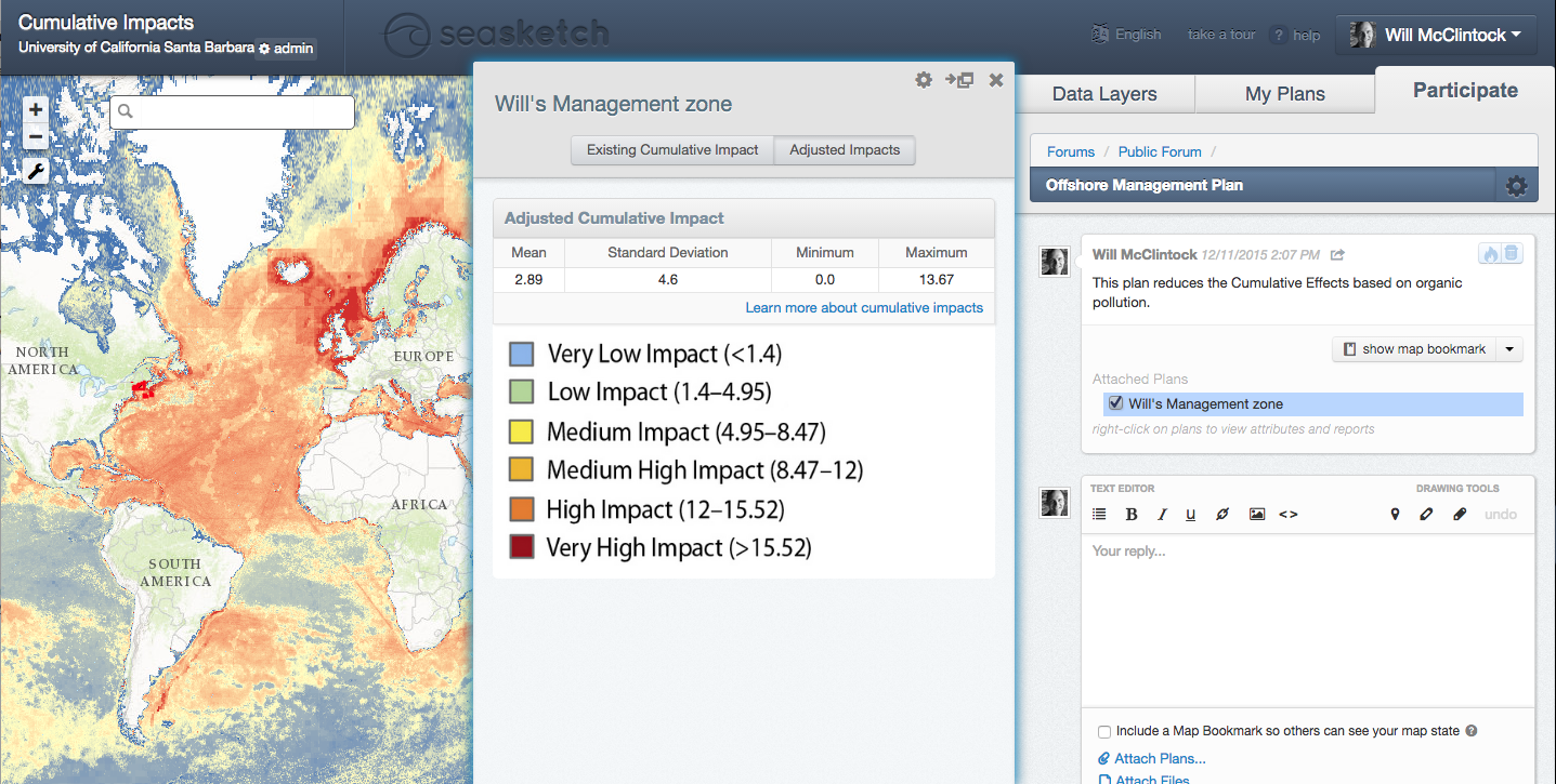 The prototype cumulative impacts analysis in SeaSketch (impacts.seasketch.org).