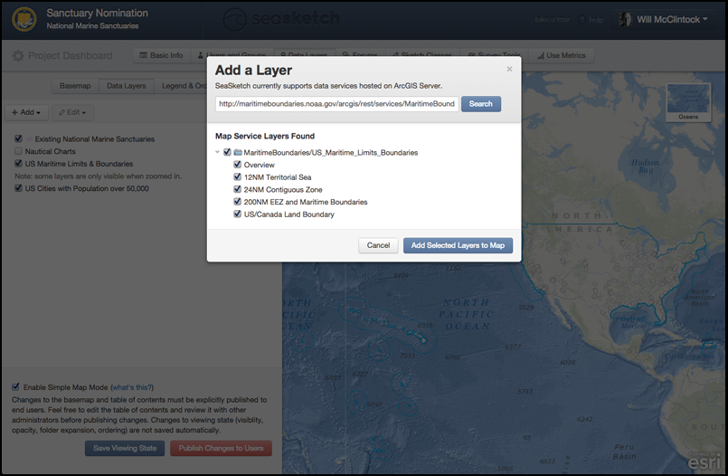 Adding a map service with multiple layers (feature services) in SeaSketch.