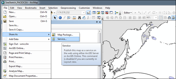 Creating a map service from ArcGIS Desktop.