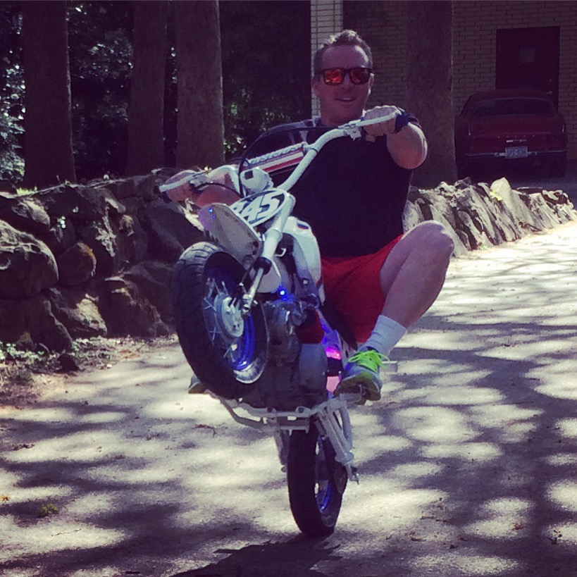 World Famous Wheelie-ing Elvi Brian Hunt pulling up the front of his new whip, the XR50 Stunter.