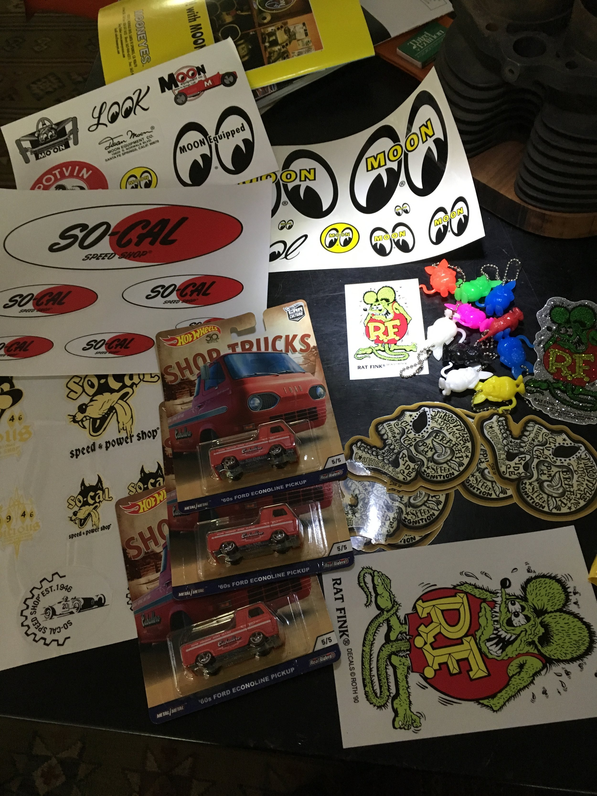 Rat Fink, SoCal Speedshop, Moon Racing, and Steve's skull stickers.