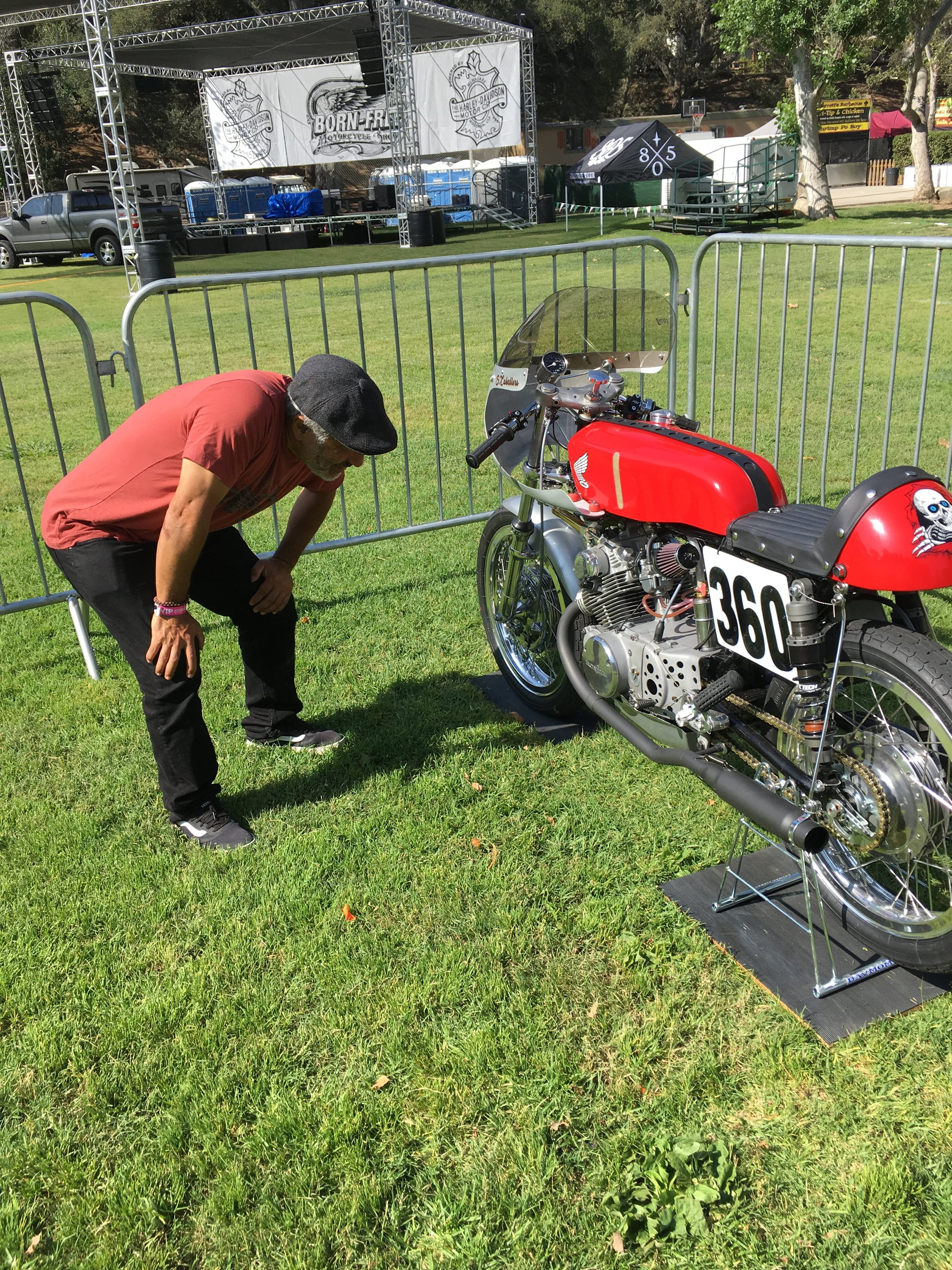 Steve checking out the bike on arrival at the Born Free show. He has seen it at three different shows, and each time there were changes made.