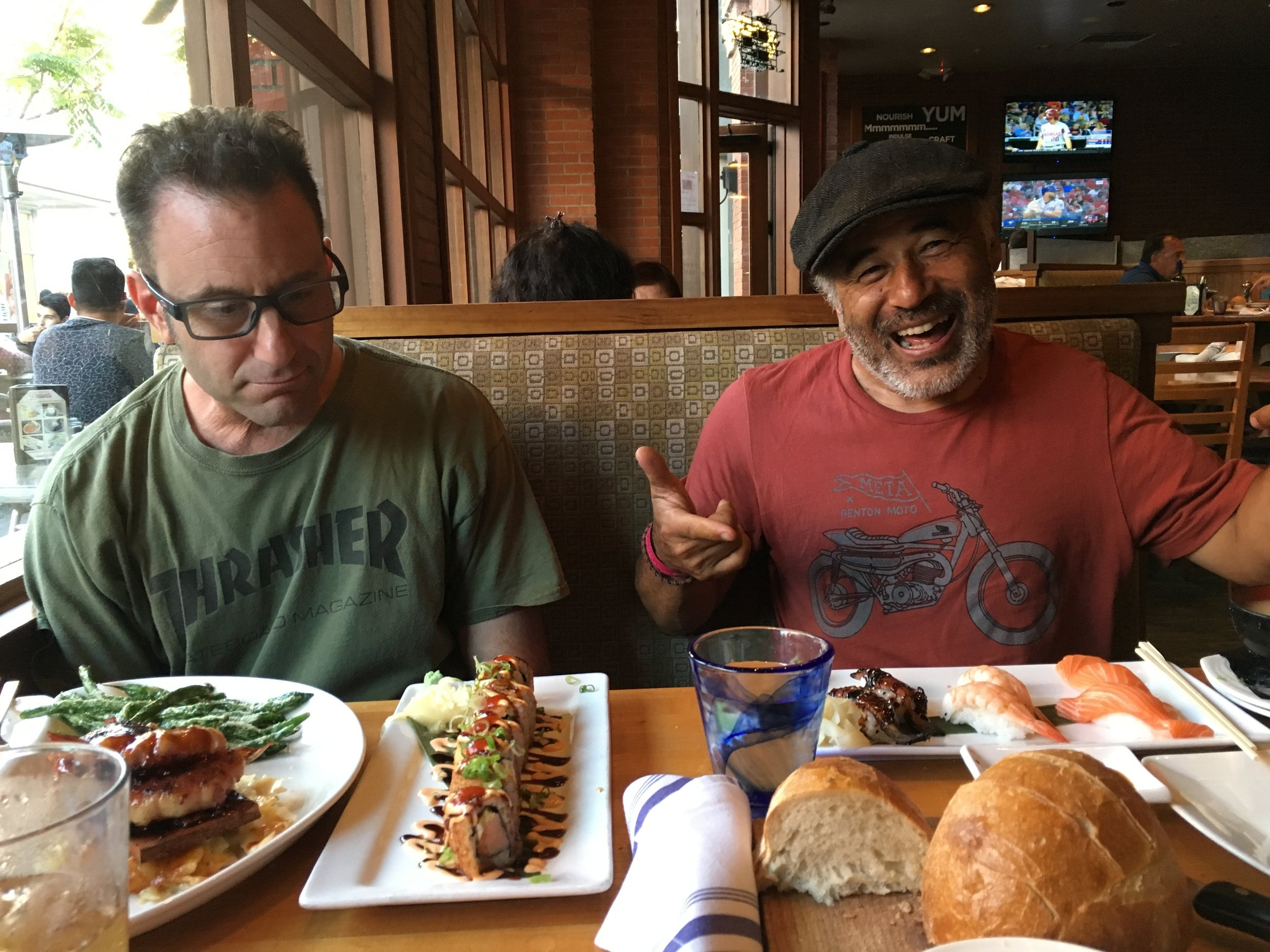 We went out for supper with Steve and his buddy Jason, who were settling up a weight-loss wager (Steve won the sushi dinner.)