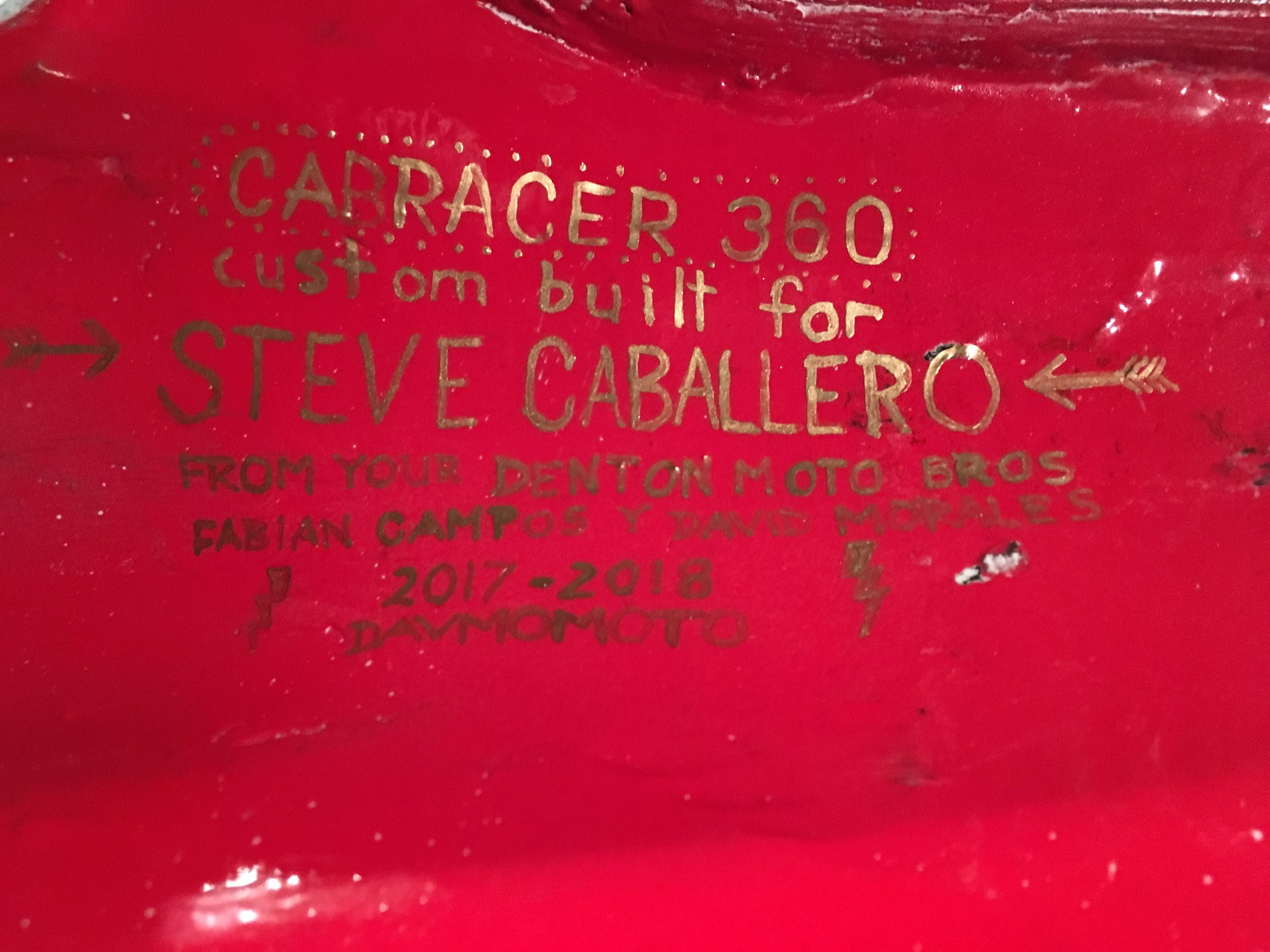 A lot of my bikes have a hidden inscription. This was on the bottom of the tank.