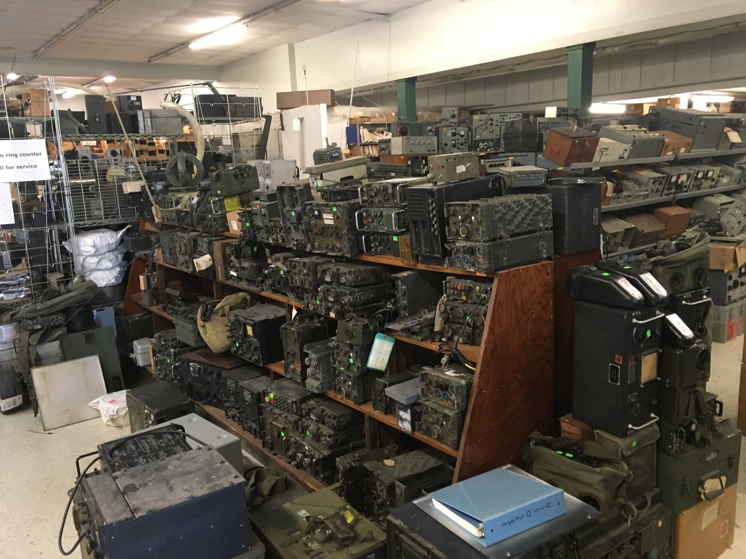 Miles of old military radios and parts.