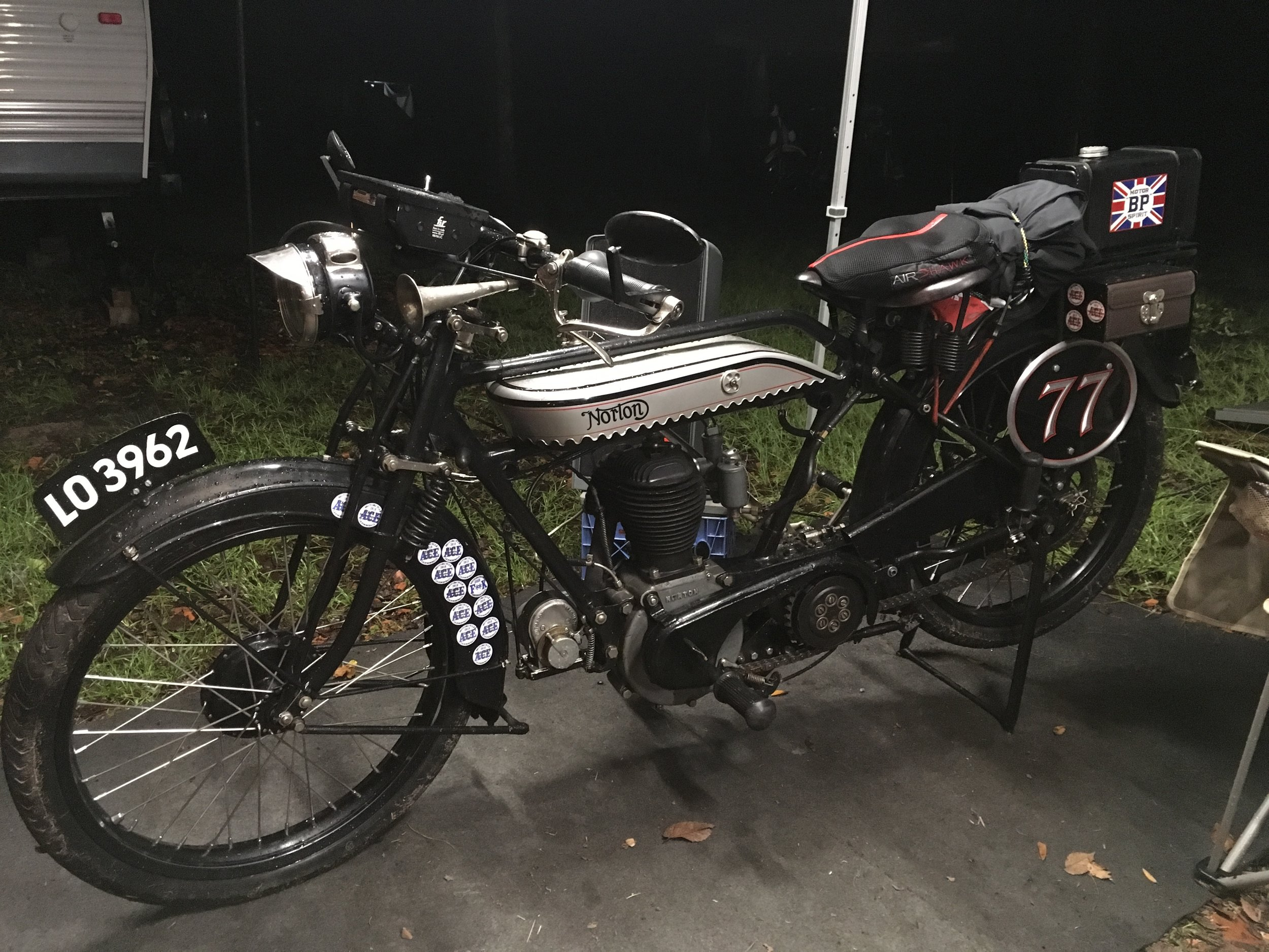 One of the crown jewels of the meet was this beautiful pre-war Norton thumper, just back from once again completing the Portland Maine to Portland Oregon Cannonball race. Just out of the frame are two more near-identical bikes from Peckerhead Racing finishing the Cannonball without missing a segment!