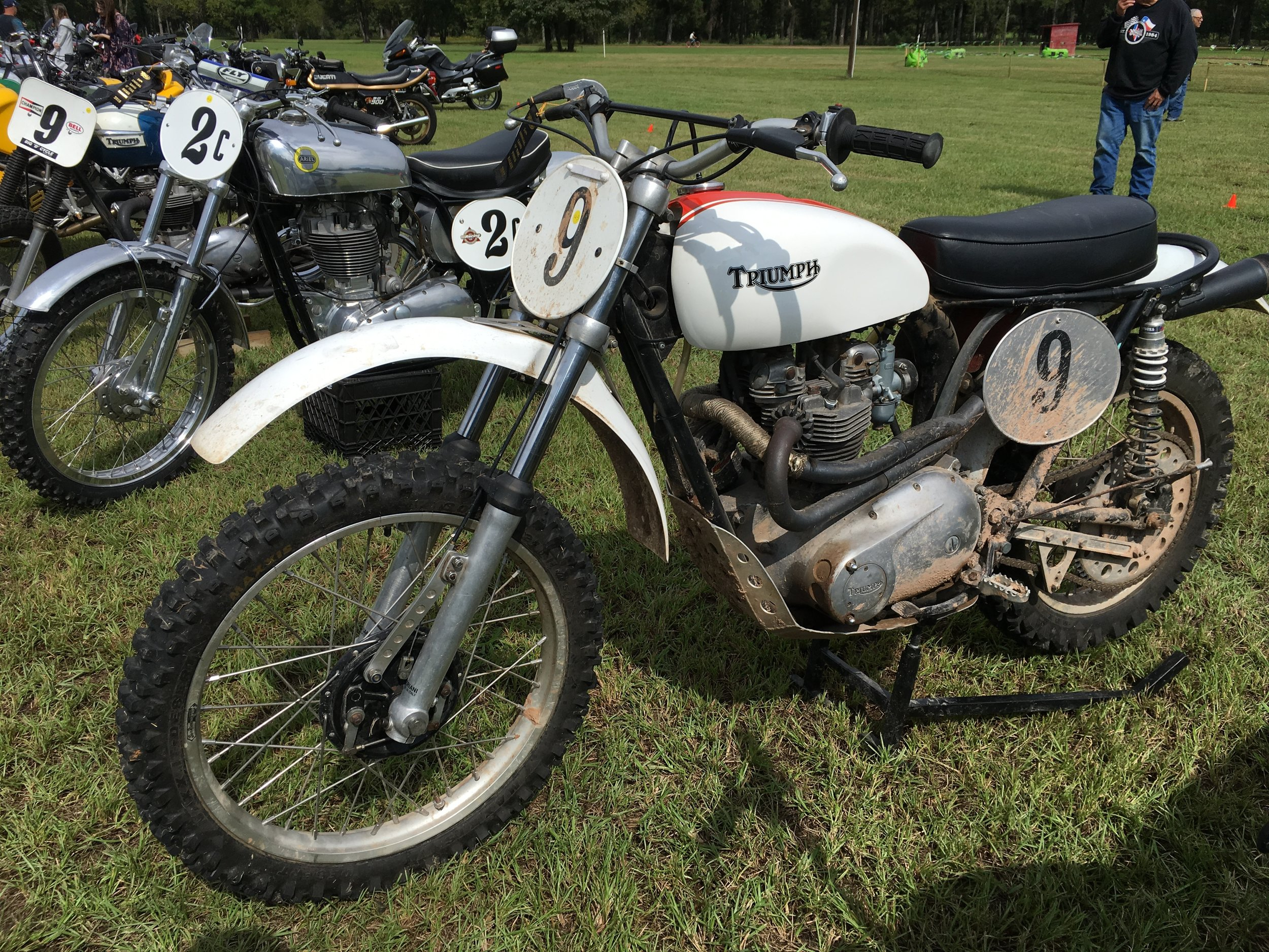 The Jason Lee Triumph TR6C took second in the competition class. Behind is the Ariel/BSA racer that took the top award. I finally had a chance to give this bike a ride with all the dirt and mud we had, and was not disappointed.