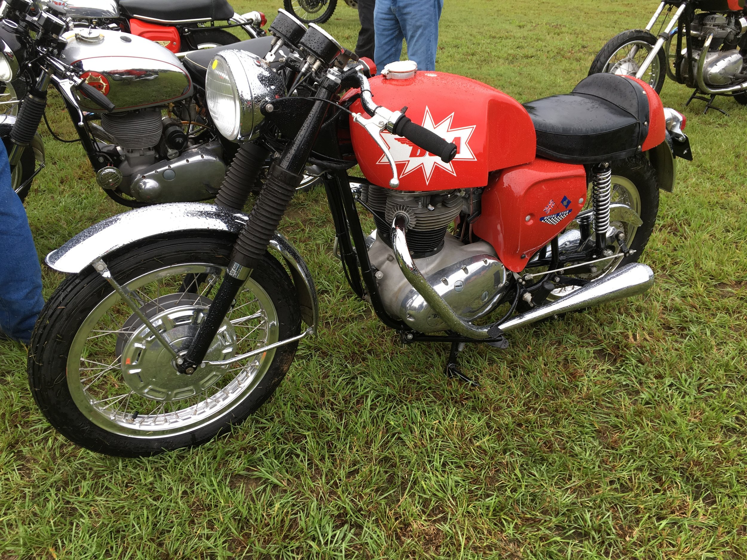 A couple of BSA beauties that caught my eye. Many of the bikes in the show were finely restored and modified, but there were grungy competition and street examples as well. By the end of the morning bike show, the rain was starting up again.