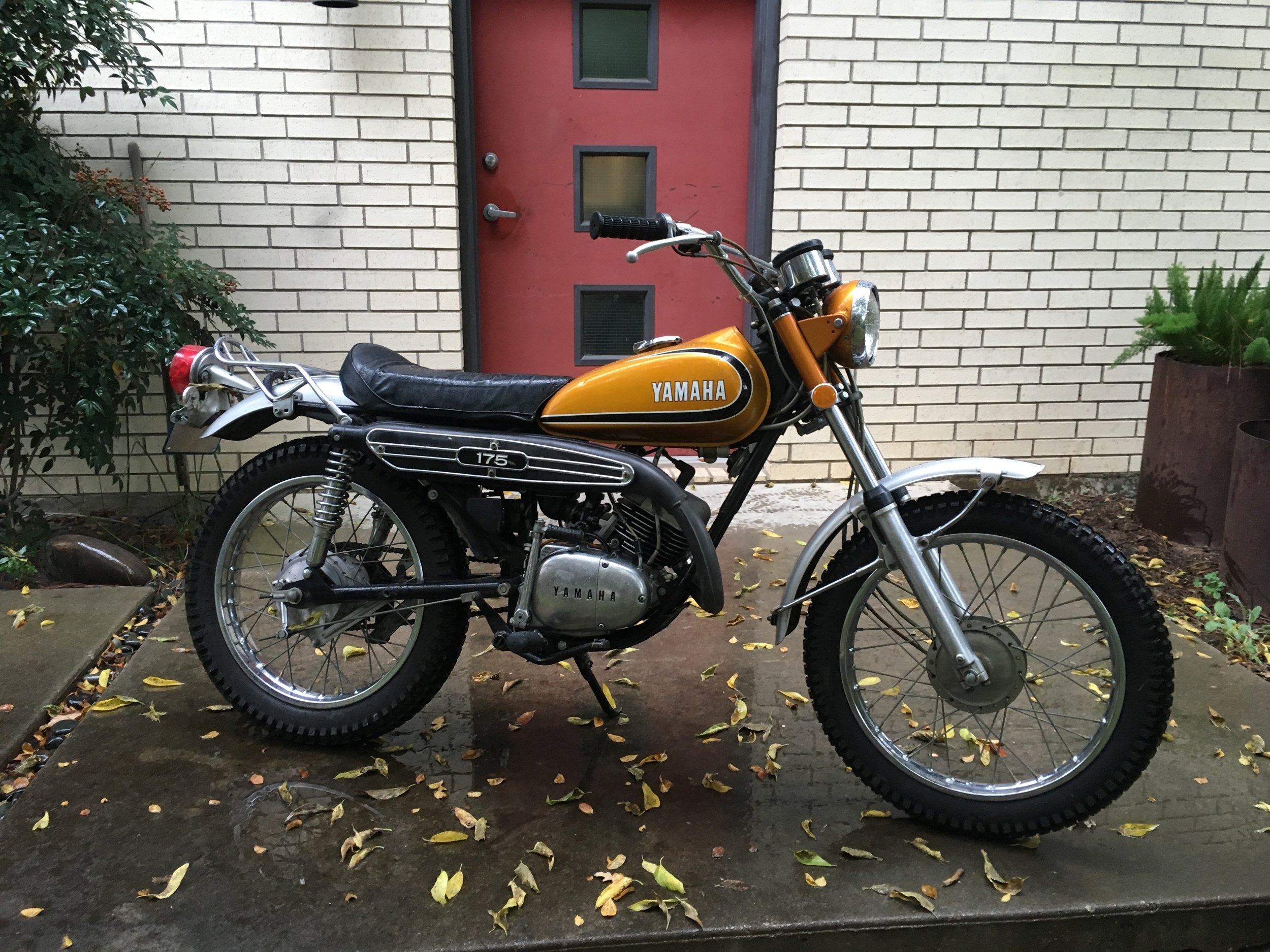 The 1973 Yamaha CT3 is back in business. A used right engine center case, tranny output shaft and a couple of gears replaced the broken ones. Still waiting on a new petcock to be done with this one. It will be for sale when done.