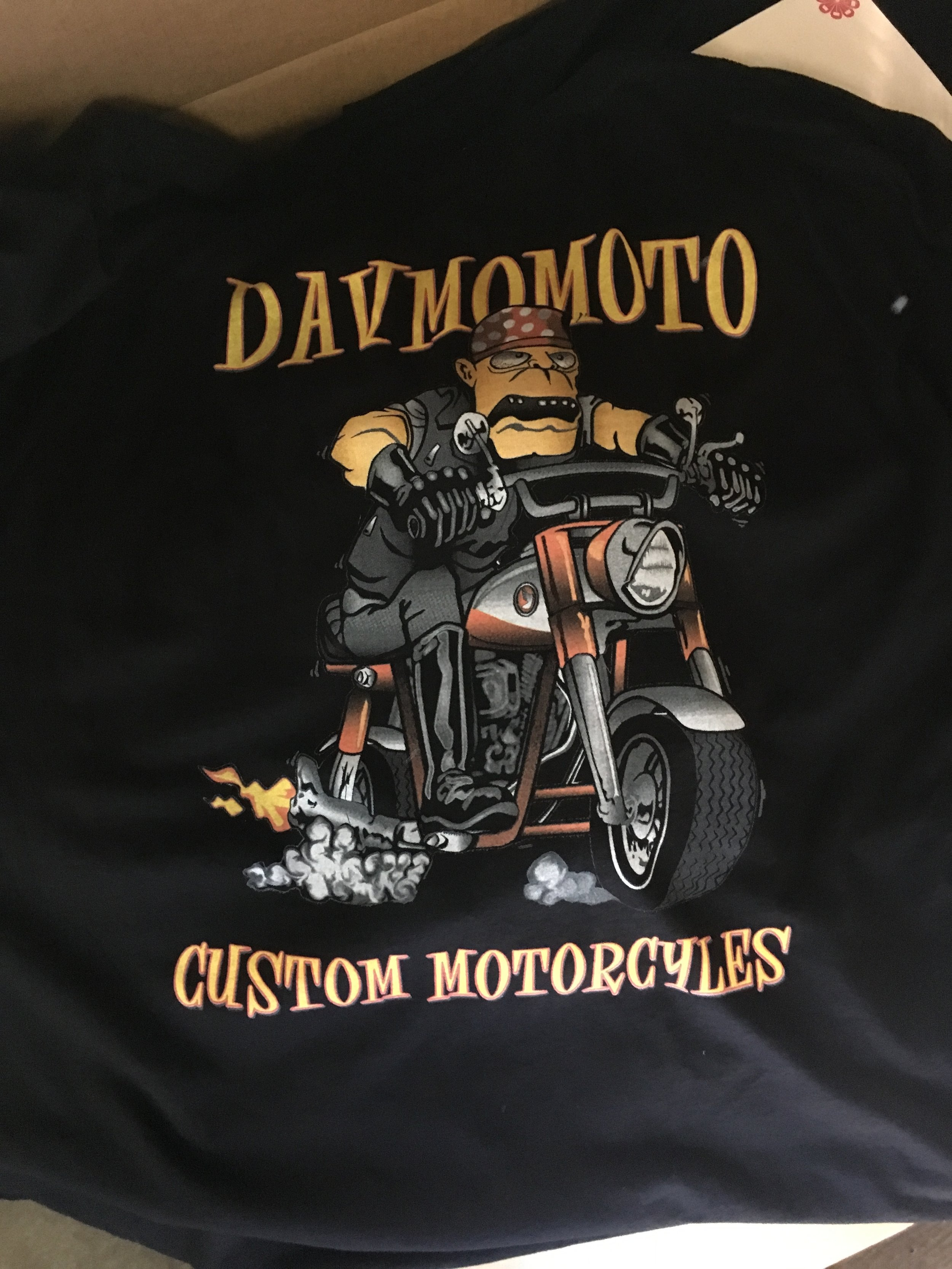 Got the 100% cotton Davmomoto shirts from local screen printer Norman Roscoe. Available in limited quantities.