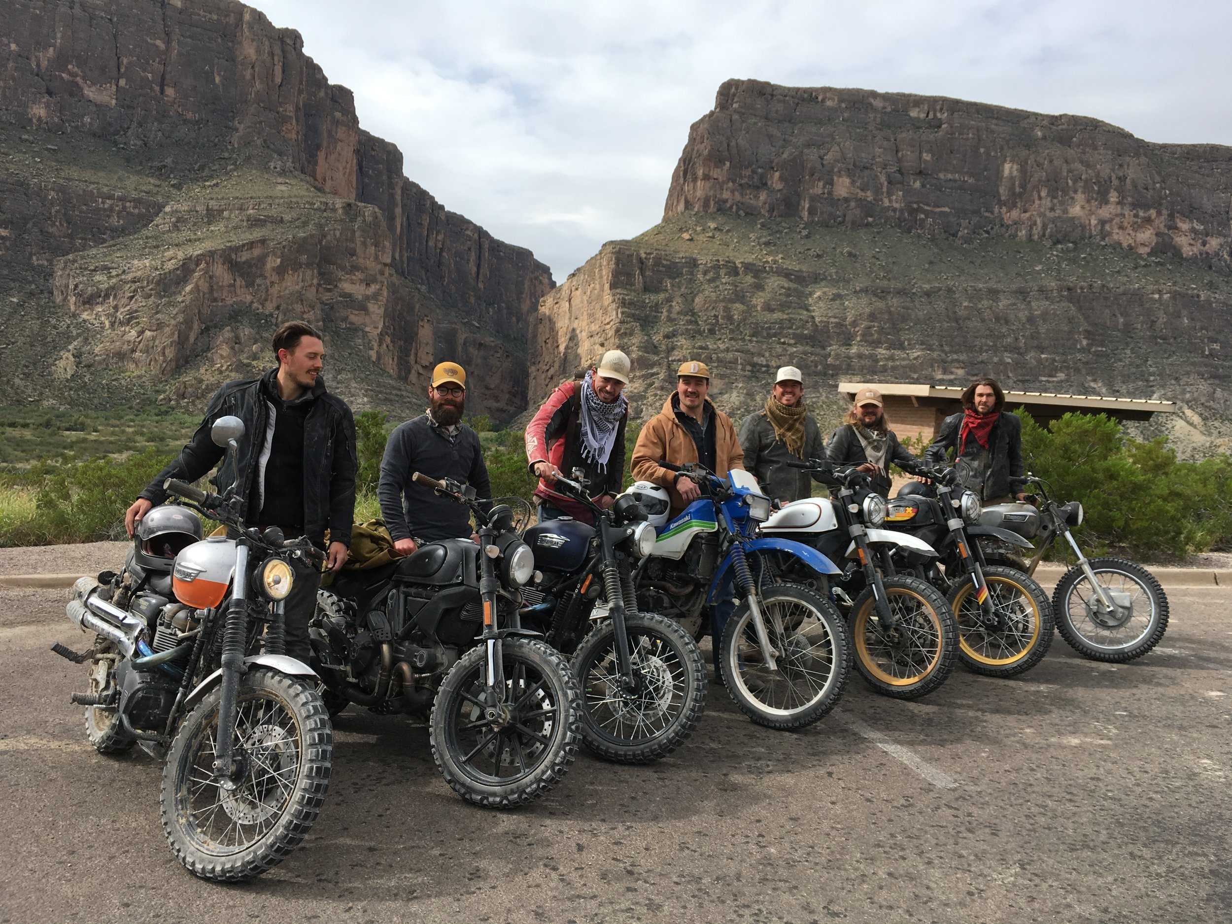 Our group of eight minus one (I was behind the camera.) These guys were awesome to ride and hang with, and are now my brothers. Our group was made up of three Ducati Scramblers, two modern Triumph Bonnies, a lone Kawasaki 250, and two 1971 Triumphs. Big Bend is an almost surreal environ, with a stark beauty that is hard to forget.