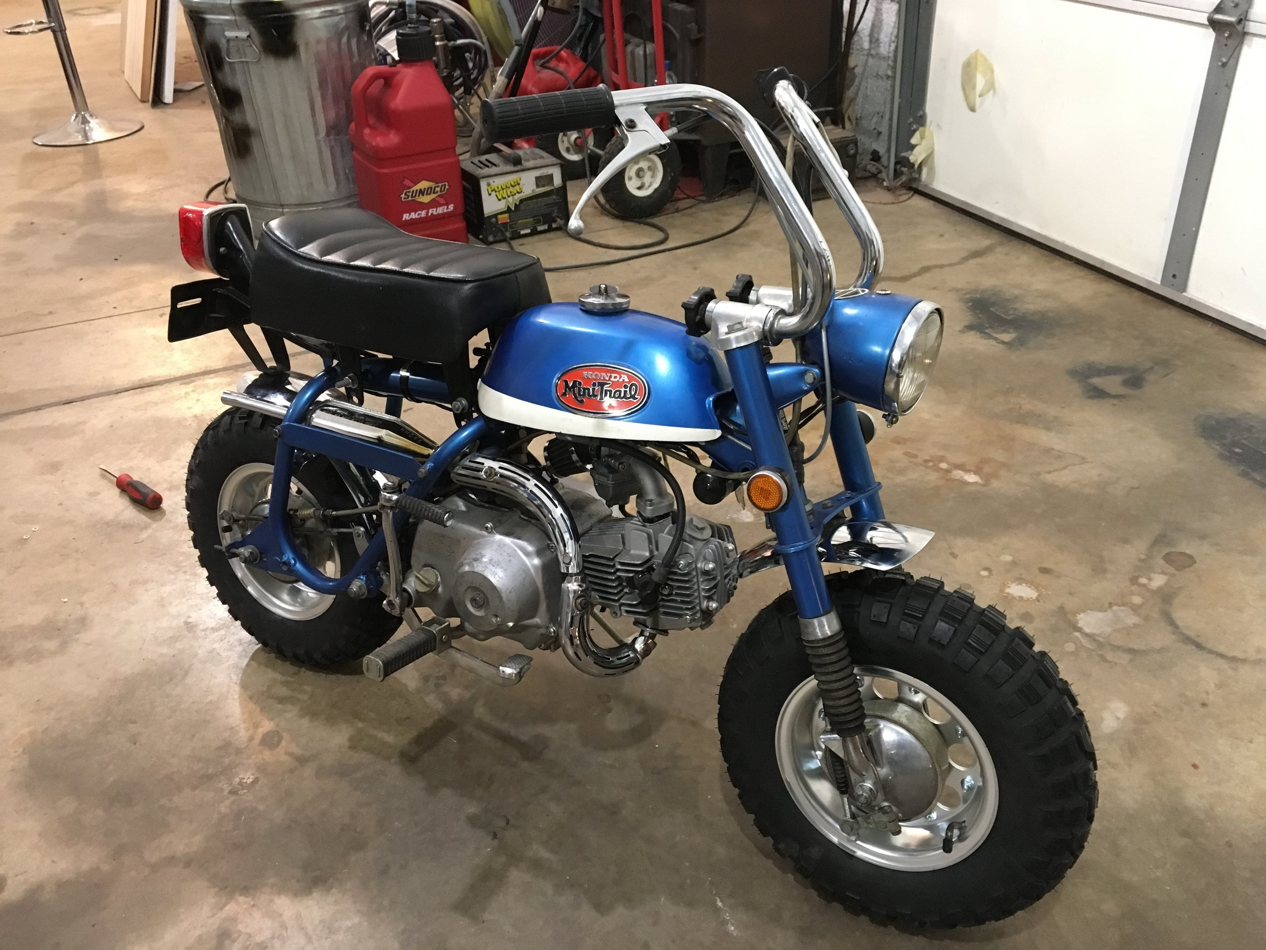 Got new fenders, tires, tubes, and alloy rims for Blaine's 1971 Honda Z50. These tires are a little taller than the originals. We got them on in his shop up in Oklahoma over the holiday. This little guy is ready to rip!