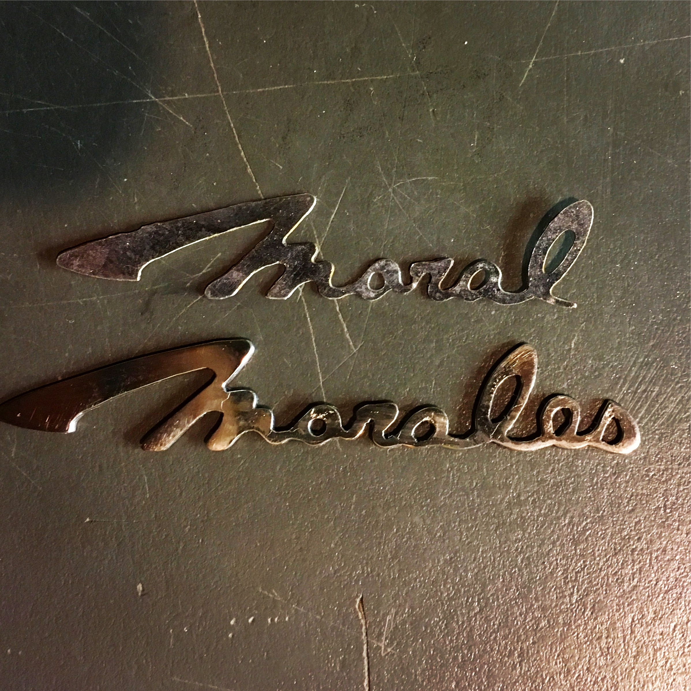Non motorcycle stuff: This is a German silver script made for a Morales guitar. The guitars were a knock-off of the Mosrite Ventures guitar named after a popular wrestler in 1960's Japan. I was asked to make the lower script to replace the missing two letters.