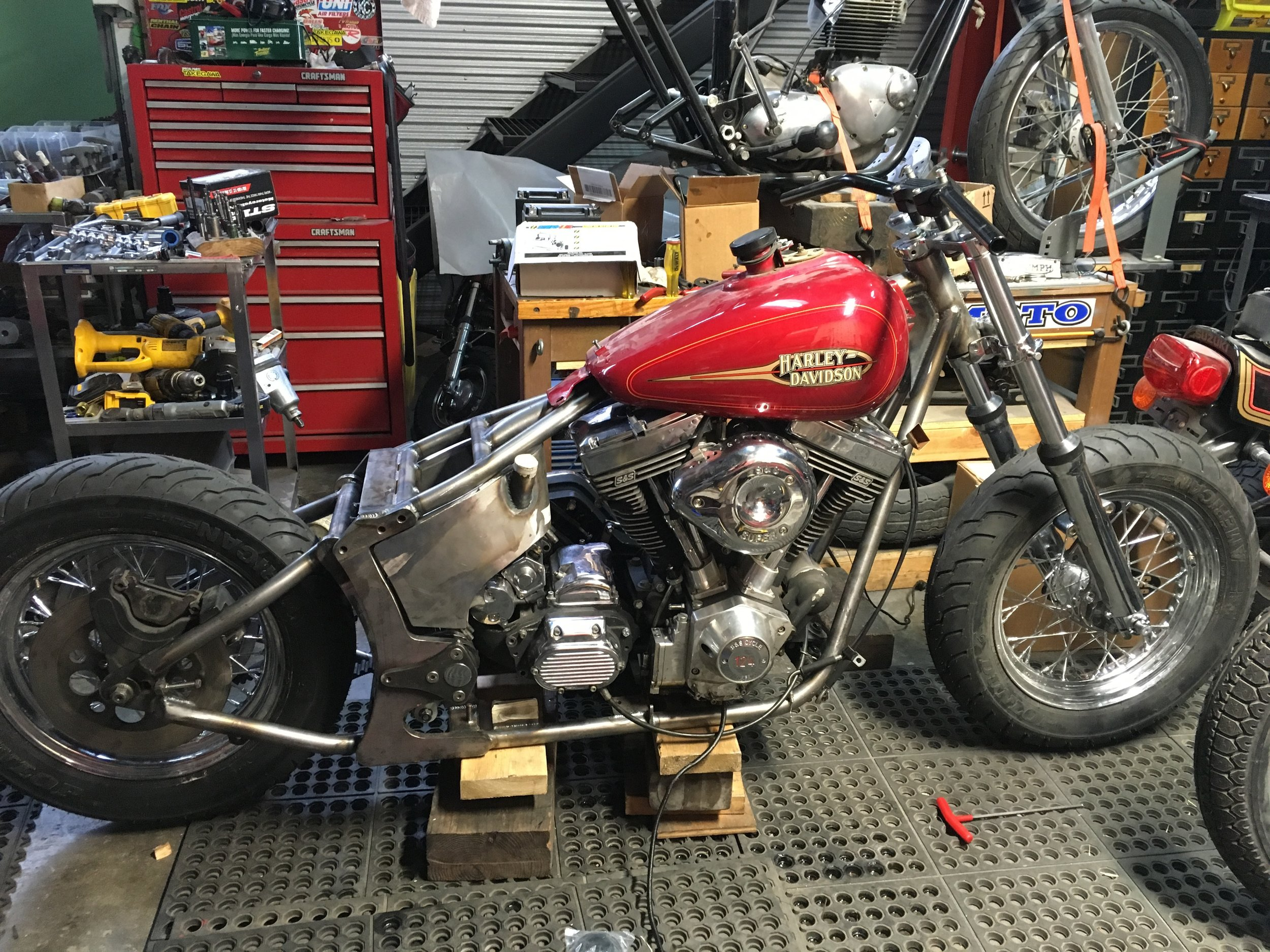 The CCD FXR Softail frame and the S&S 124 powerplant fit together perfectly. A new rear brake caliper bracket is needed along with seat, tank and fender mounts. The belt-drive pulleys and belt will also need replacing.