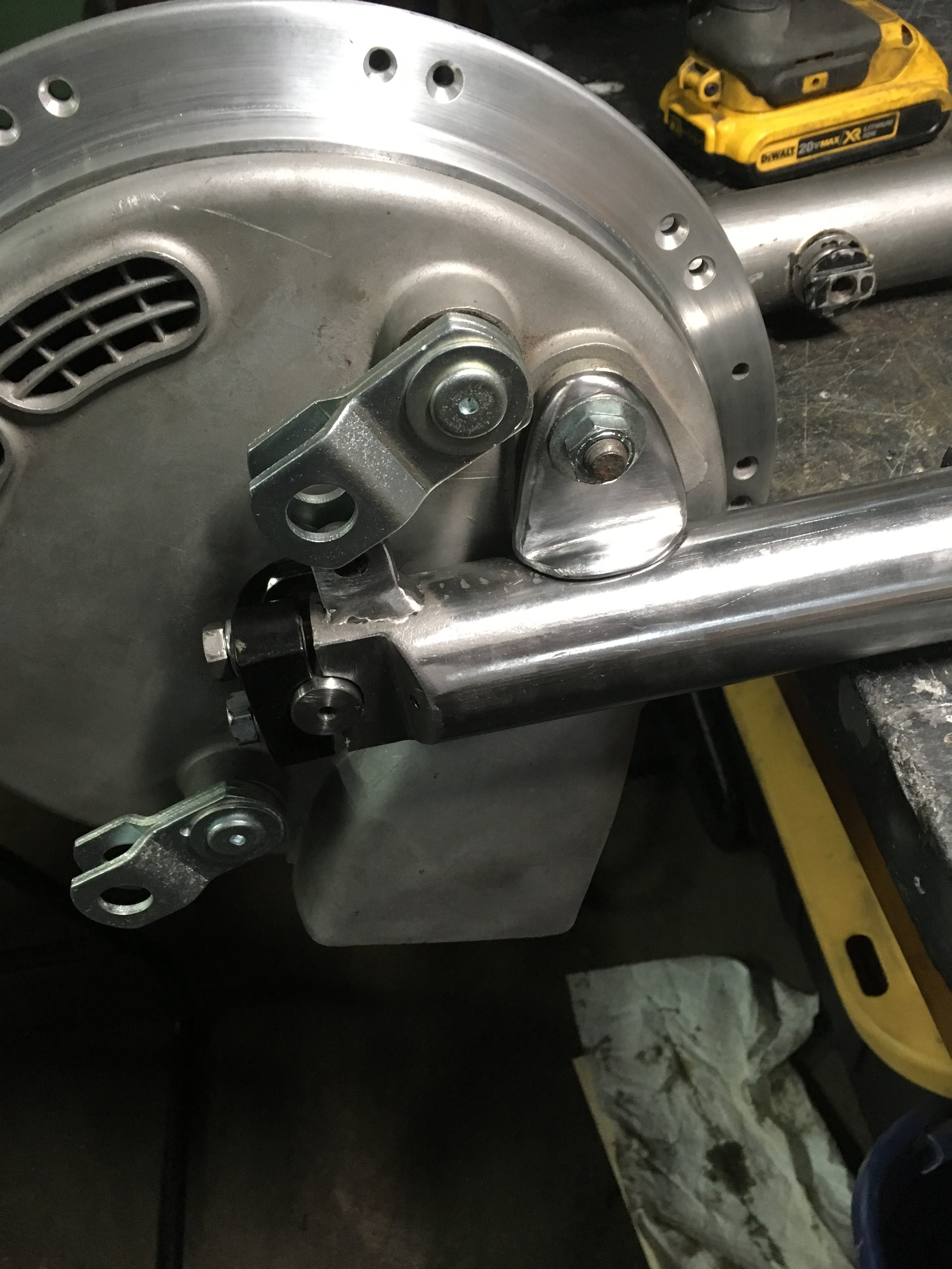 After making the brake stay bracket, it was mocked up and a line scribed around the base to mark where it was to be mounted.