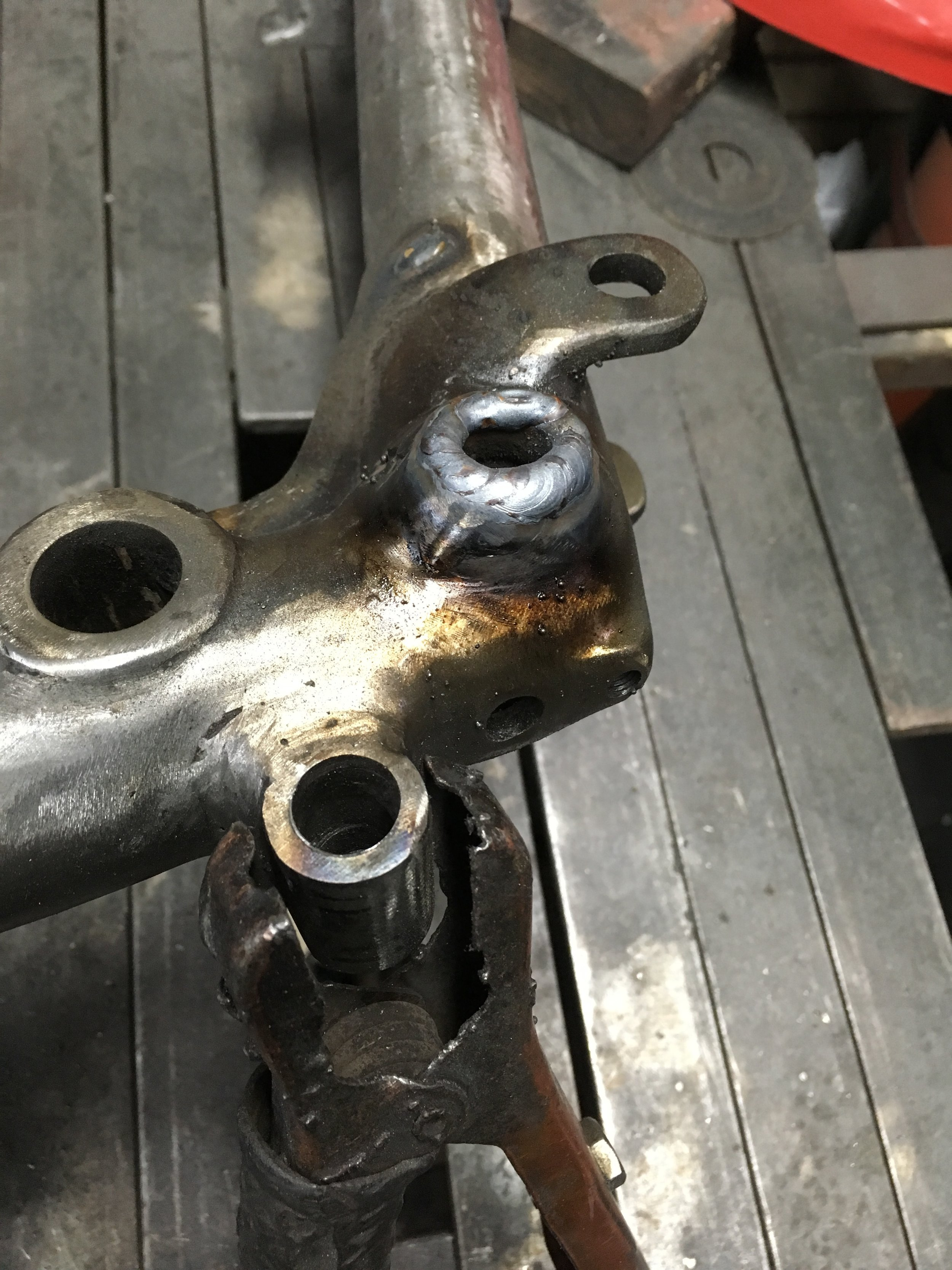 The rear frame mount boss needed a little love. Some welding and grinding to make for a tighter fit between the front and back frame.