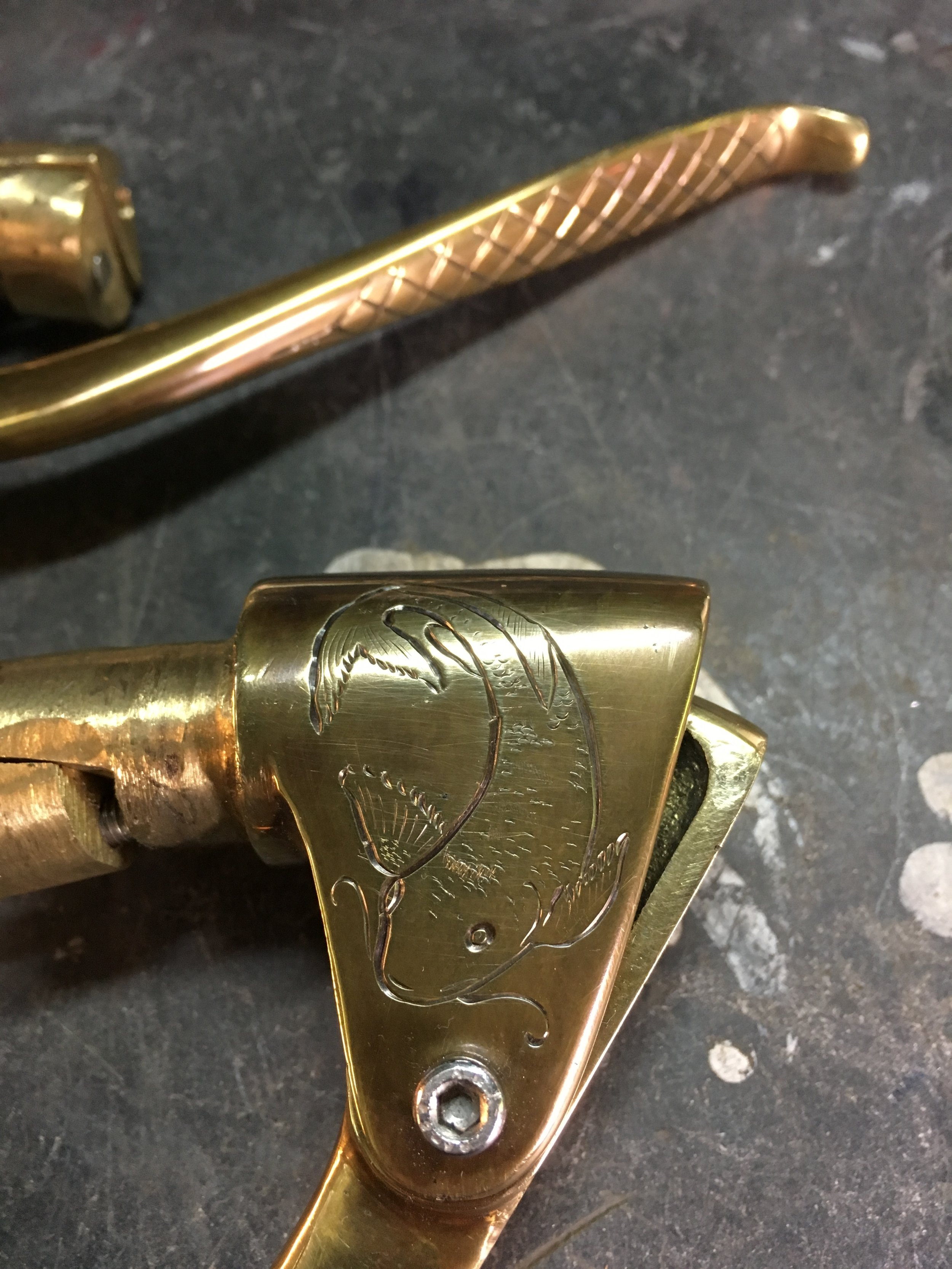 """A Japanese Koi fish on the clutch lever perch. The fish is my personal symbol, explained in the """"about"""" section of this site."""