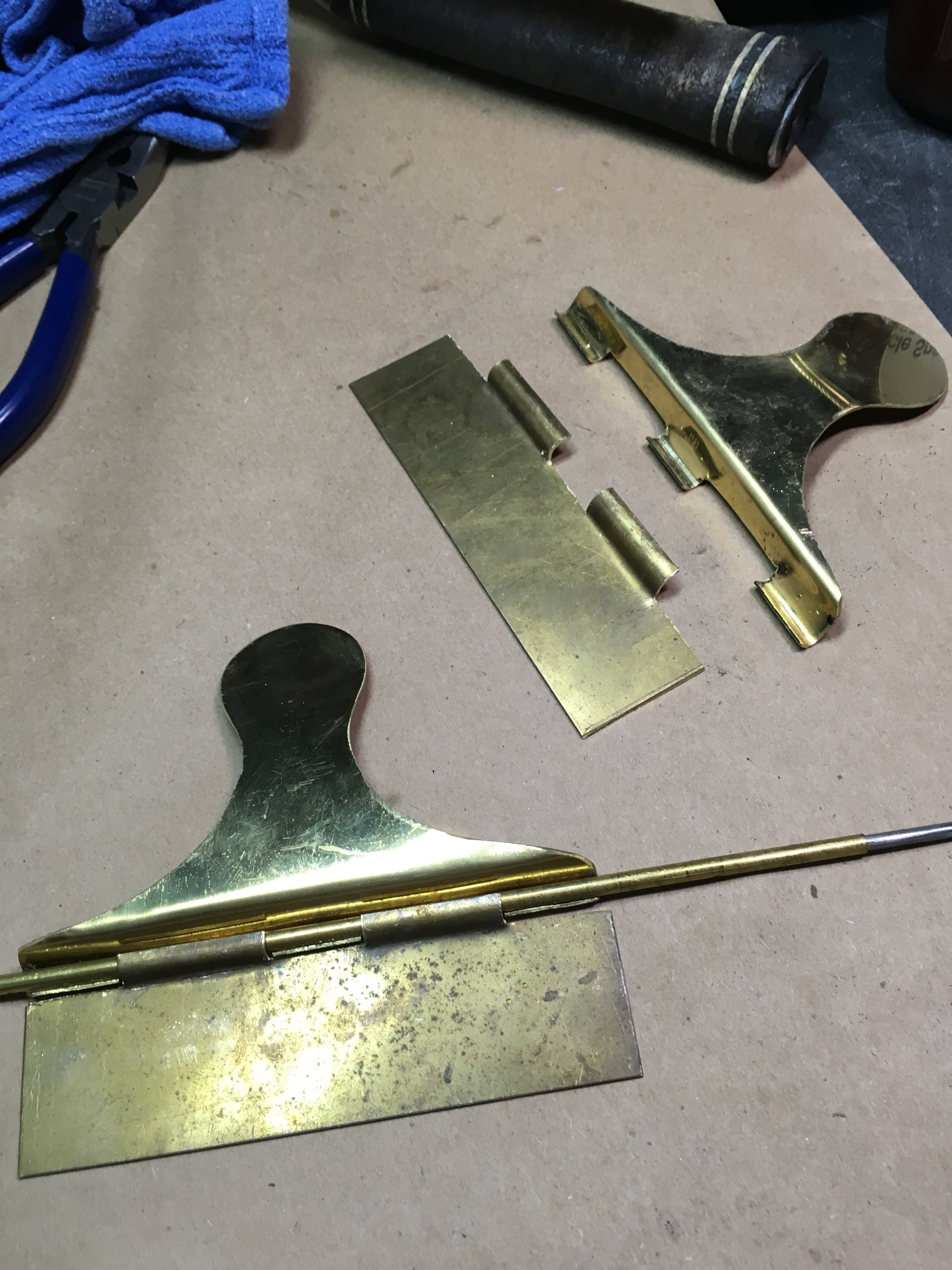 20 gauge brass and some brass tubing is being used to make the hinge for the boxes.