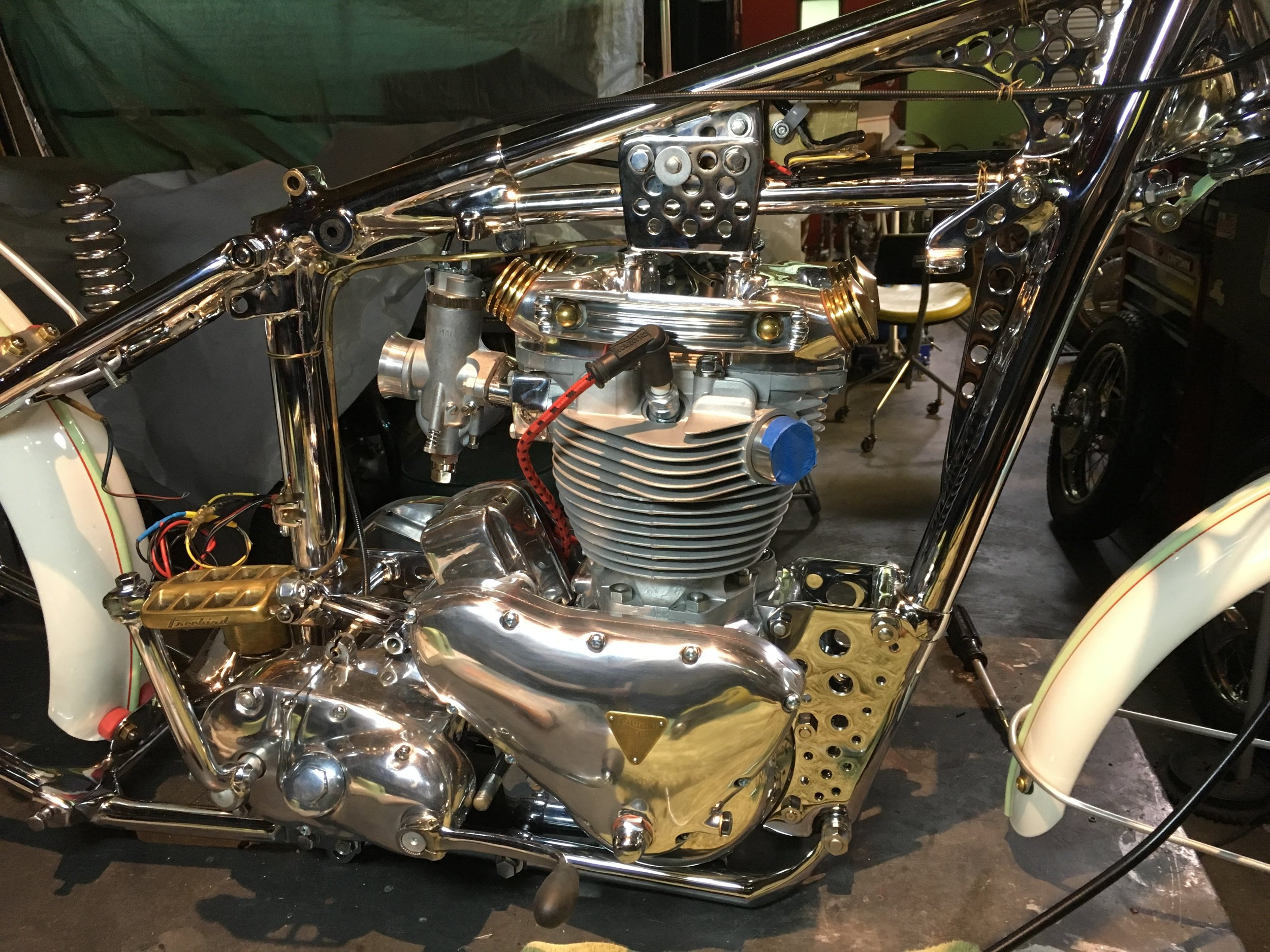 The Amal 389 carb will probably get a polish and an air filter may get made, but the engine is otherwise done. As soon as it is on the ground, the exhaust will be put on, and by all appearances it will be a complete bike.